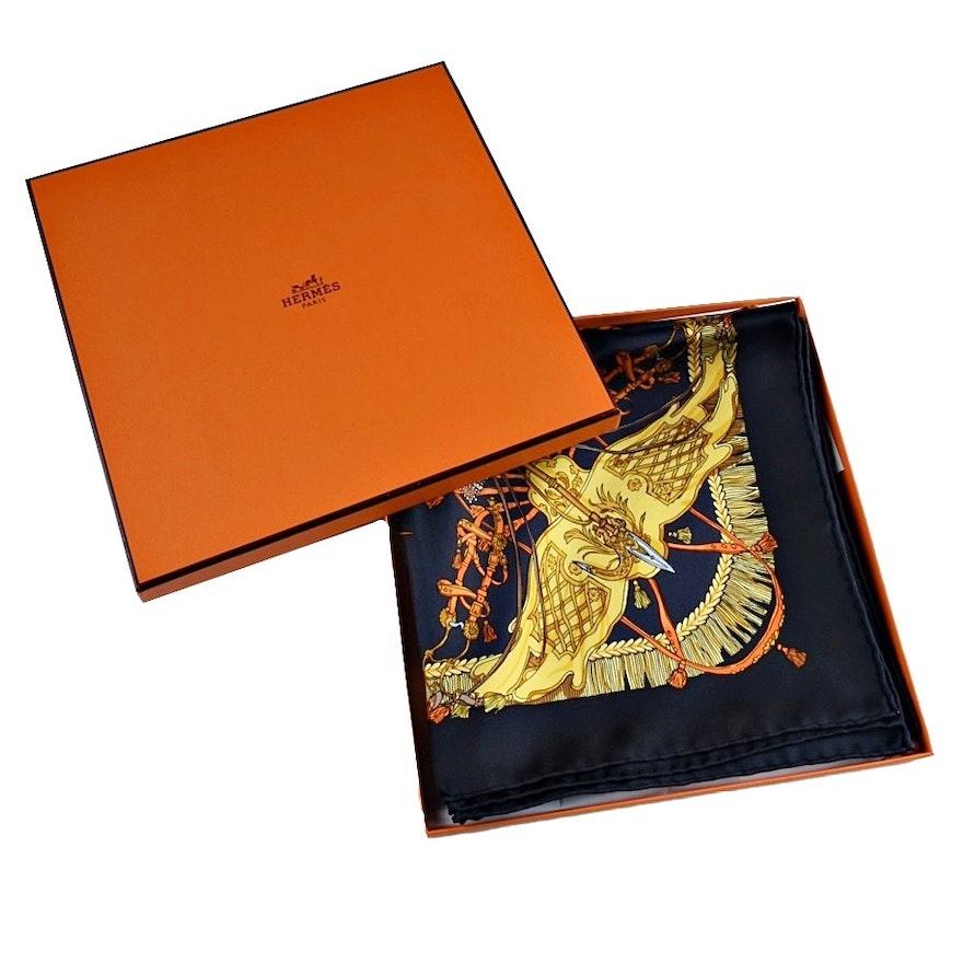 """Hermès Silk """"Caparacons de la France et de l'Inde"""" Scarf"""