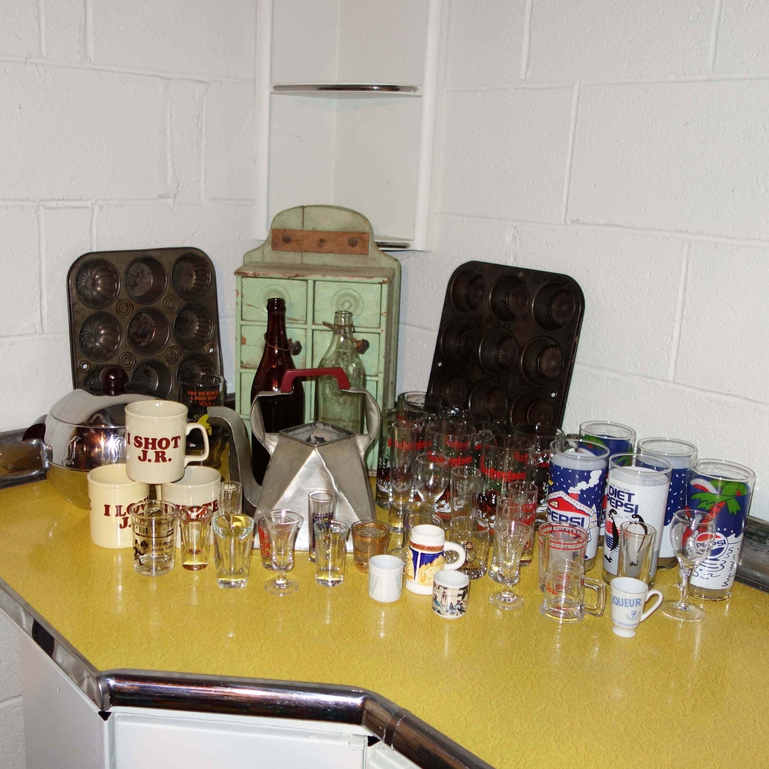 Apothecary Cabinet, Antique Bottles and Other Items