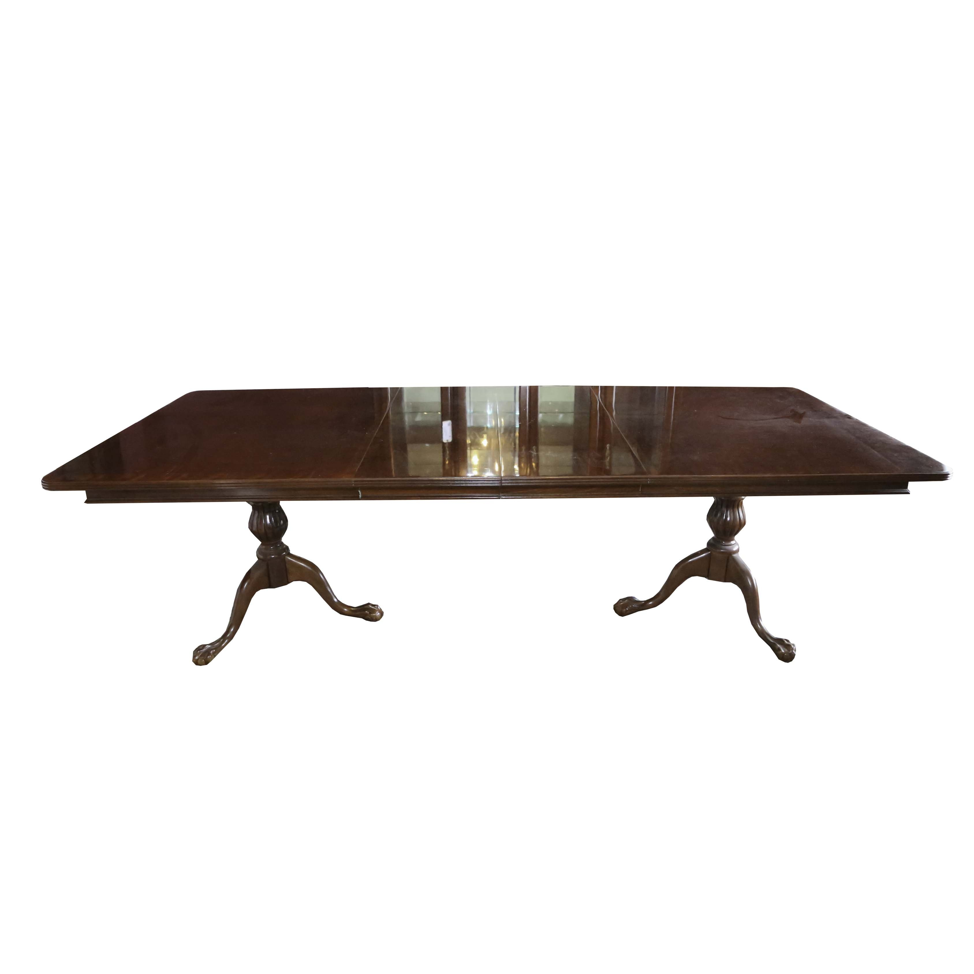 Chippendale Style Double Pedestal Dining Table