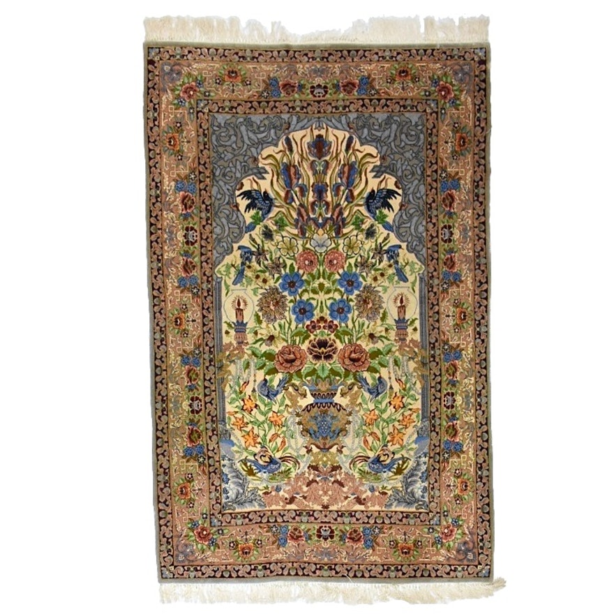 Hand-Knotted Persian Art Silk Prayer Rug