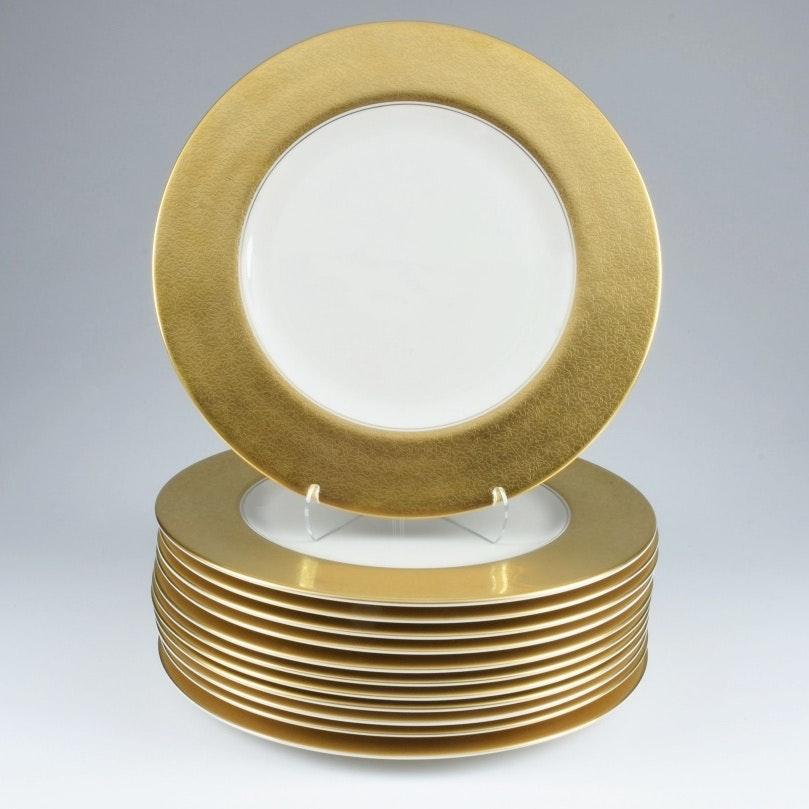 Pickard Set of 12 Rose & Daisy Gold Rimmed Plates