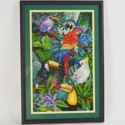 Framed Needlepoint of Tropical Birds