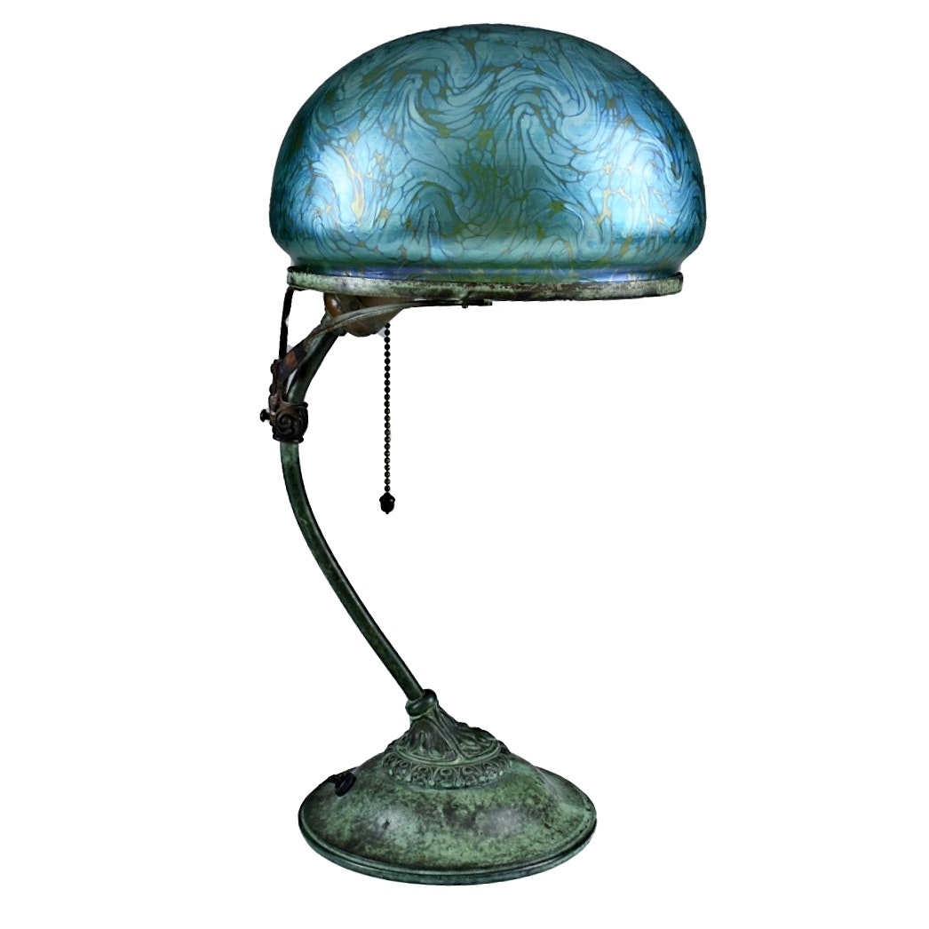 Art Nouveau Bronze Table Lamp with Favrile Glass Shade