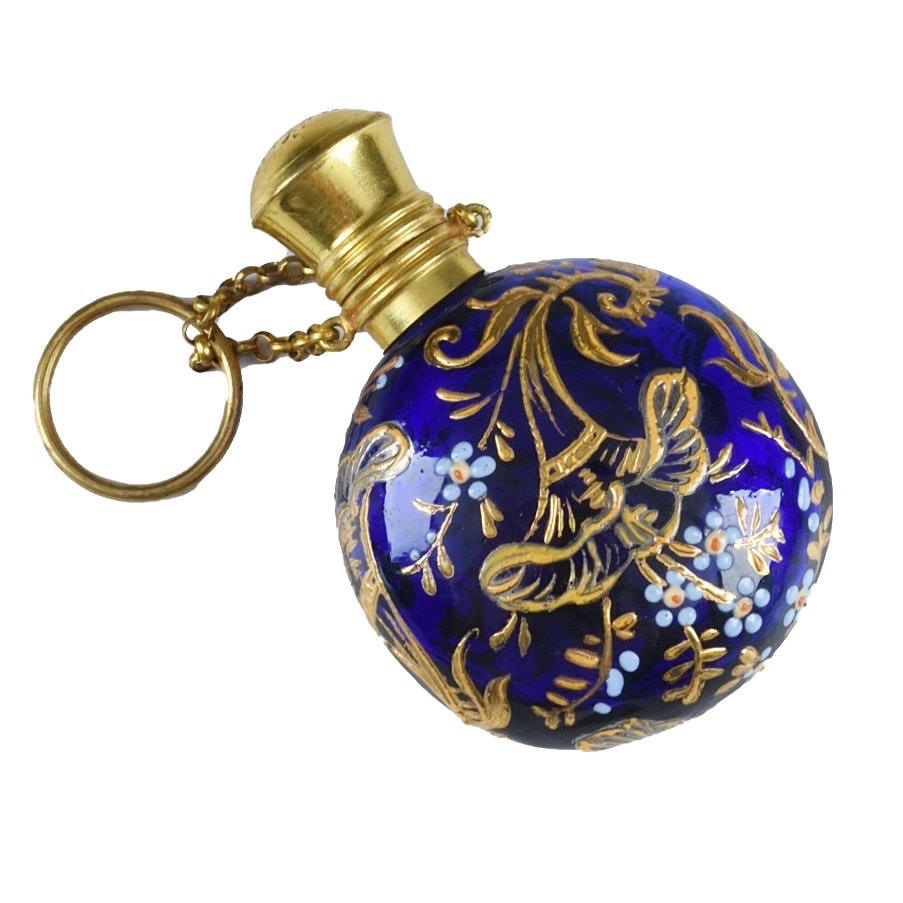 Antique Bohemian Cobalt Blue Glass and Enamel Perfume Chatelaine