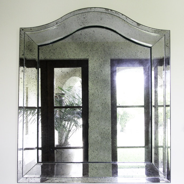 Large Paneled Framed Wall Mirror