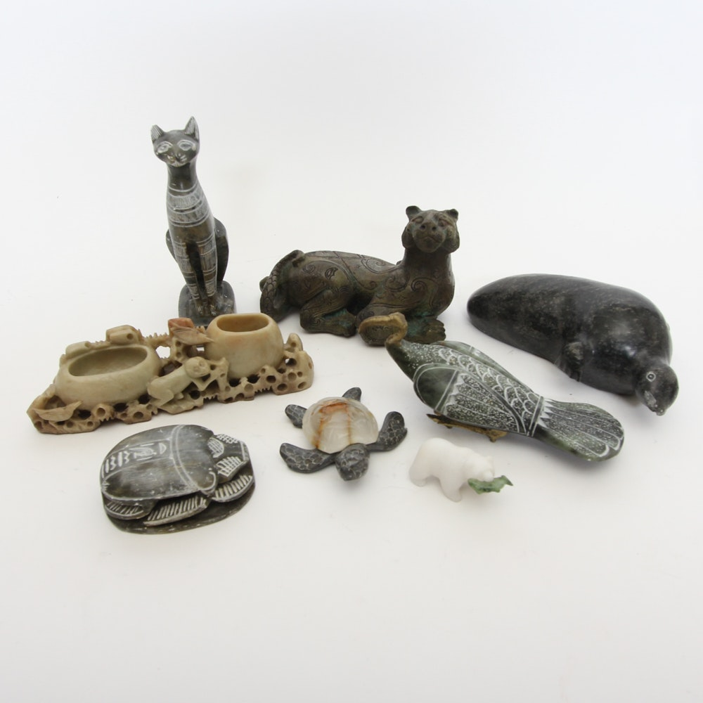 Collection of Stoneware Carved Animals