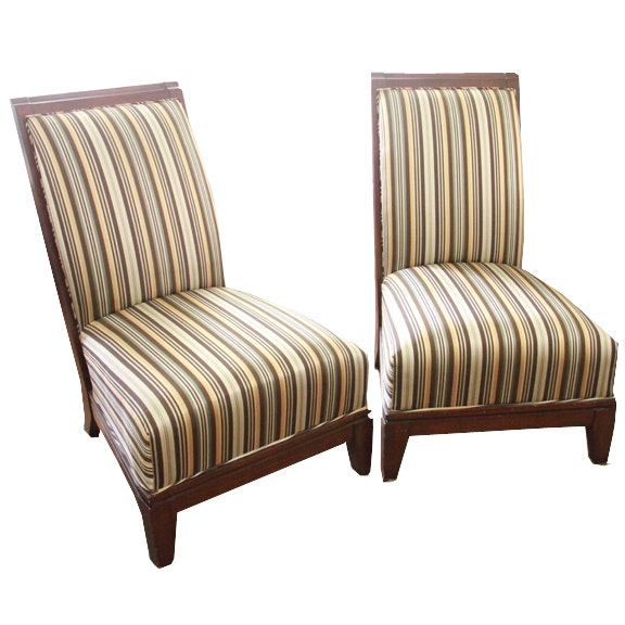 Pair Of Striped Armless Side Chairs ...