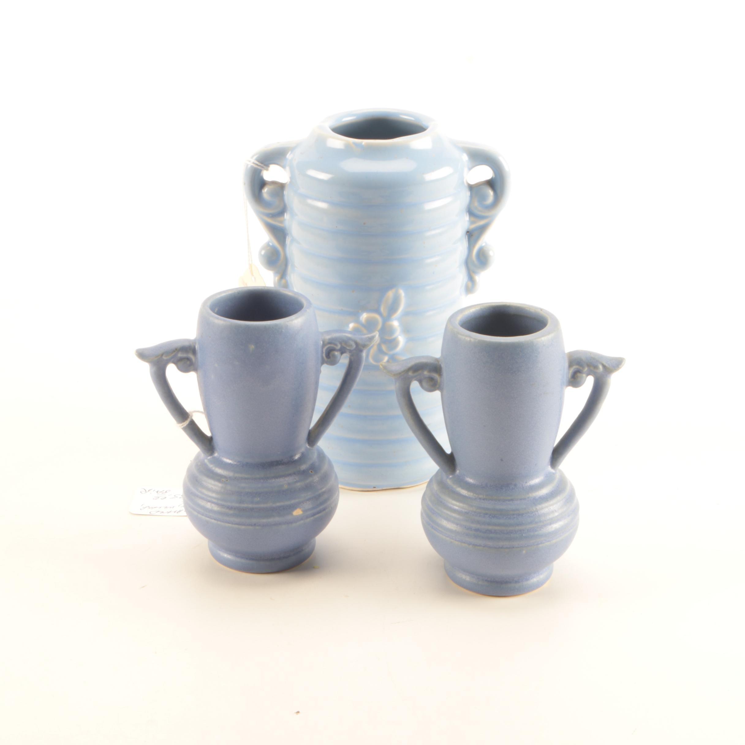 Vintage Blue Finish Pottery Vases