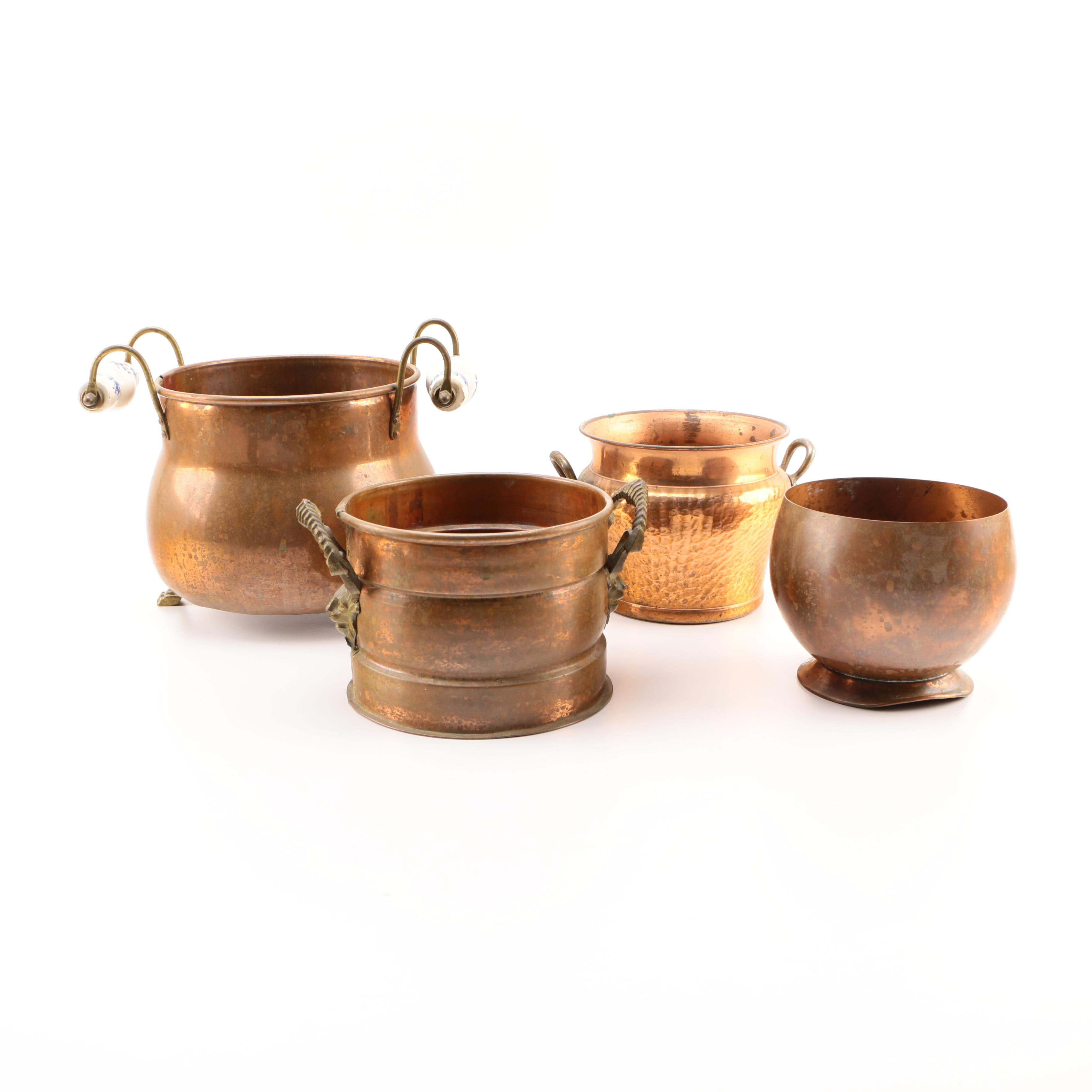 Assortment of Copper and Copper Tone Vessels
