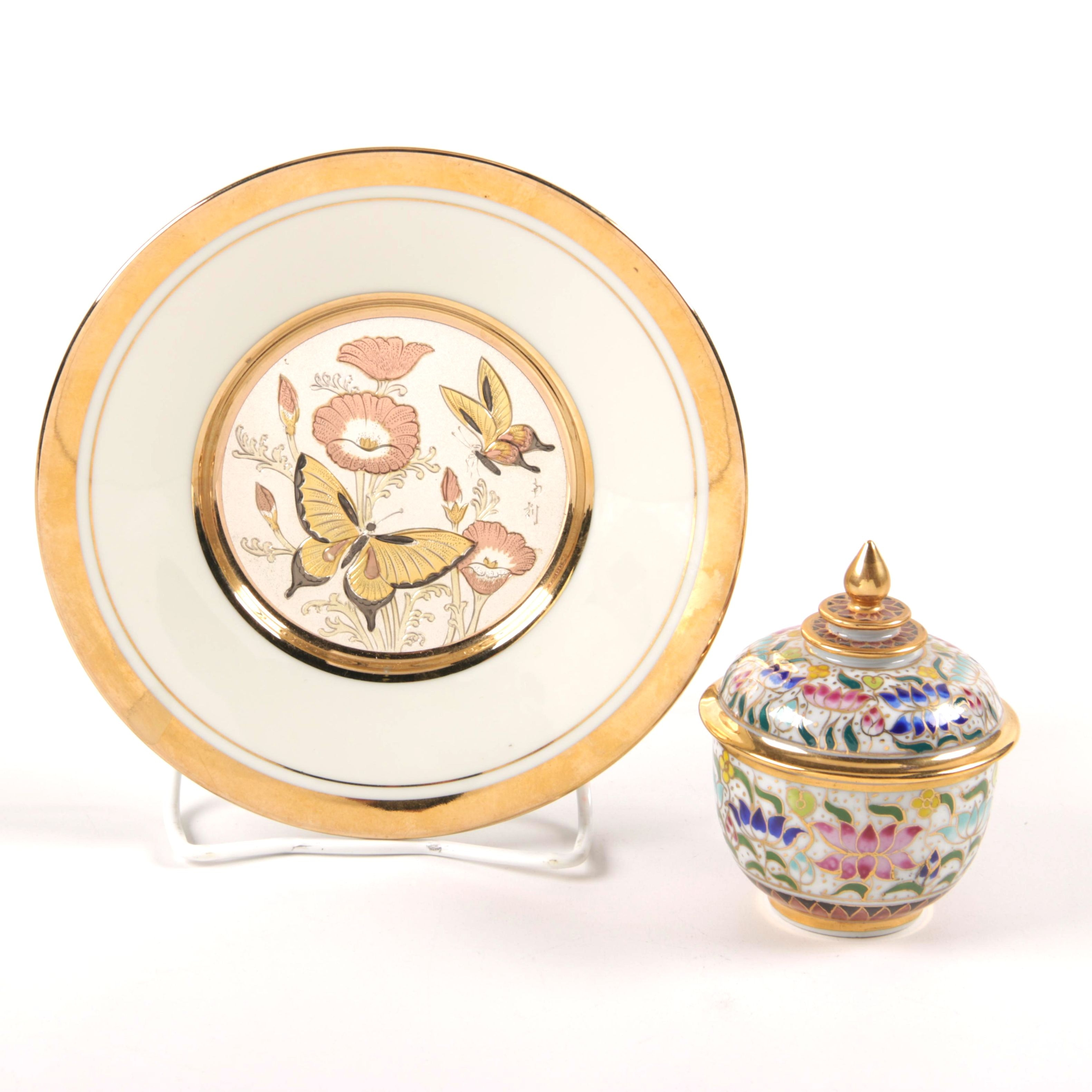 Japanese Chokin Gilded Copper Plate and Porcelain Jar