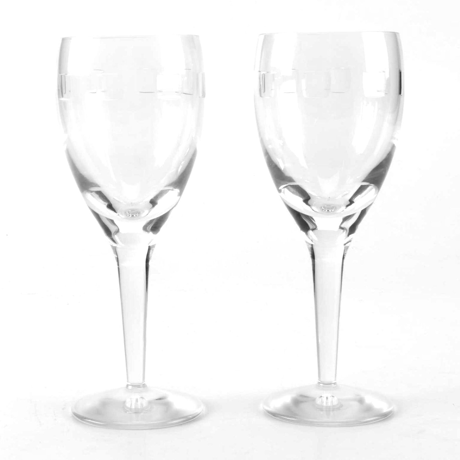 "Pair of John Rocha ""Geo Oden"" Waterford Wine Glasses"