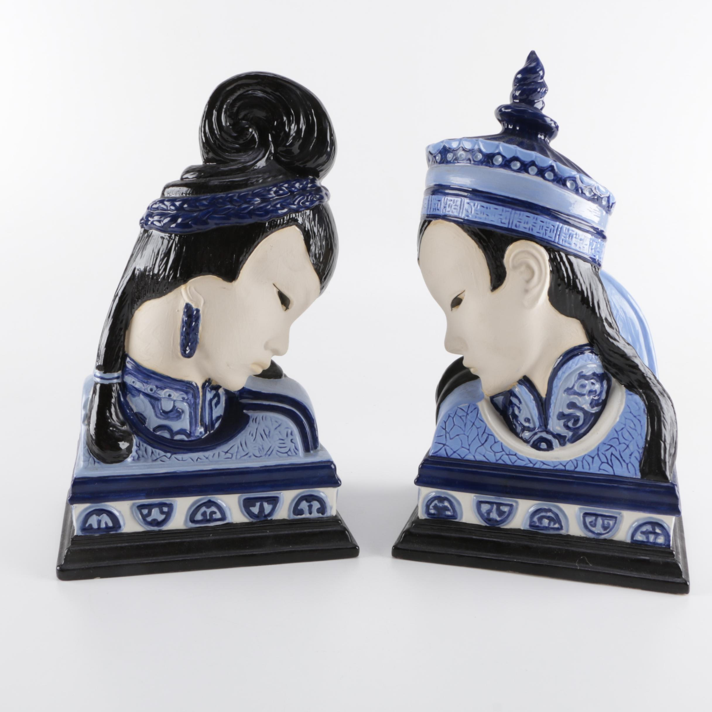 Asian Inspired Ceramic Busts