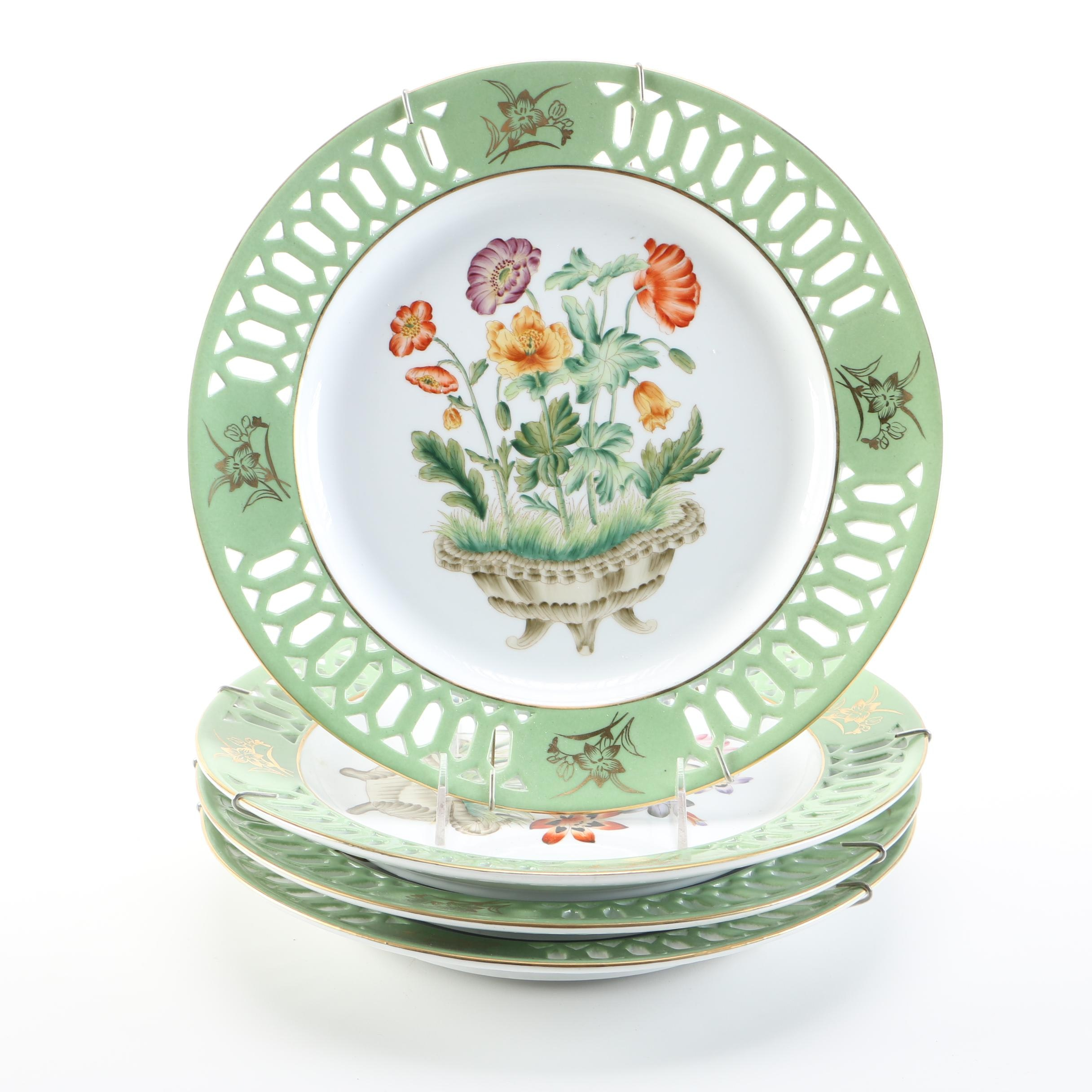 White and Green Decorative Cabinet Plates