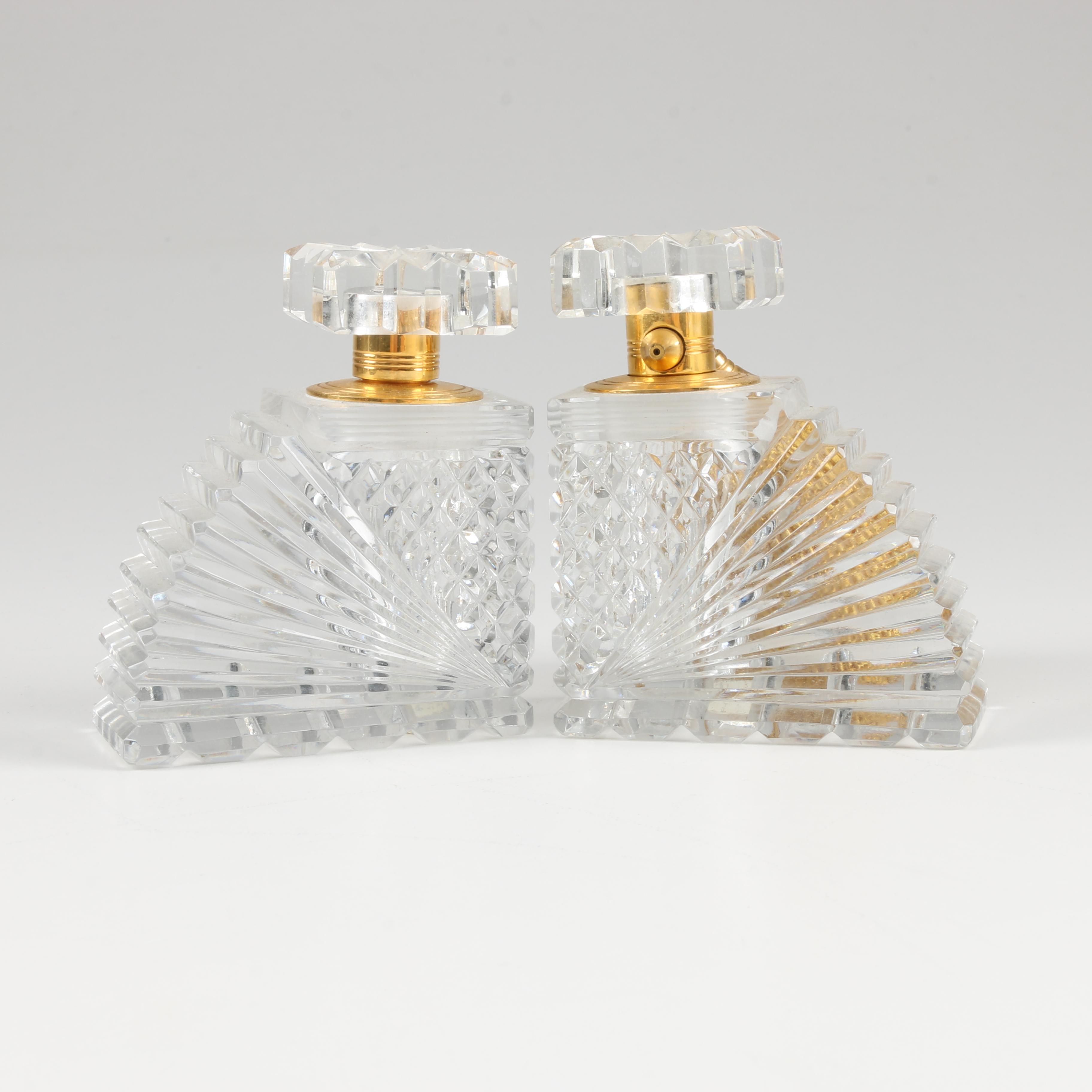 Pair of Art Deco Cut Glass Perfume Bottles