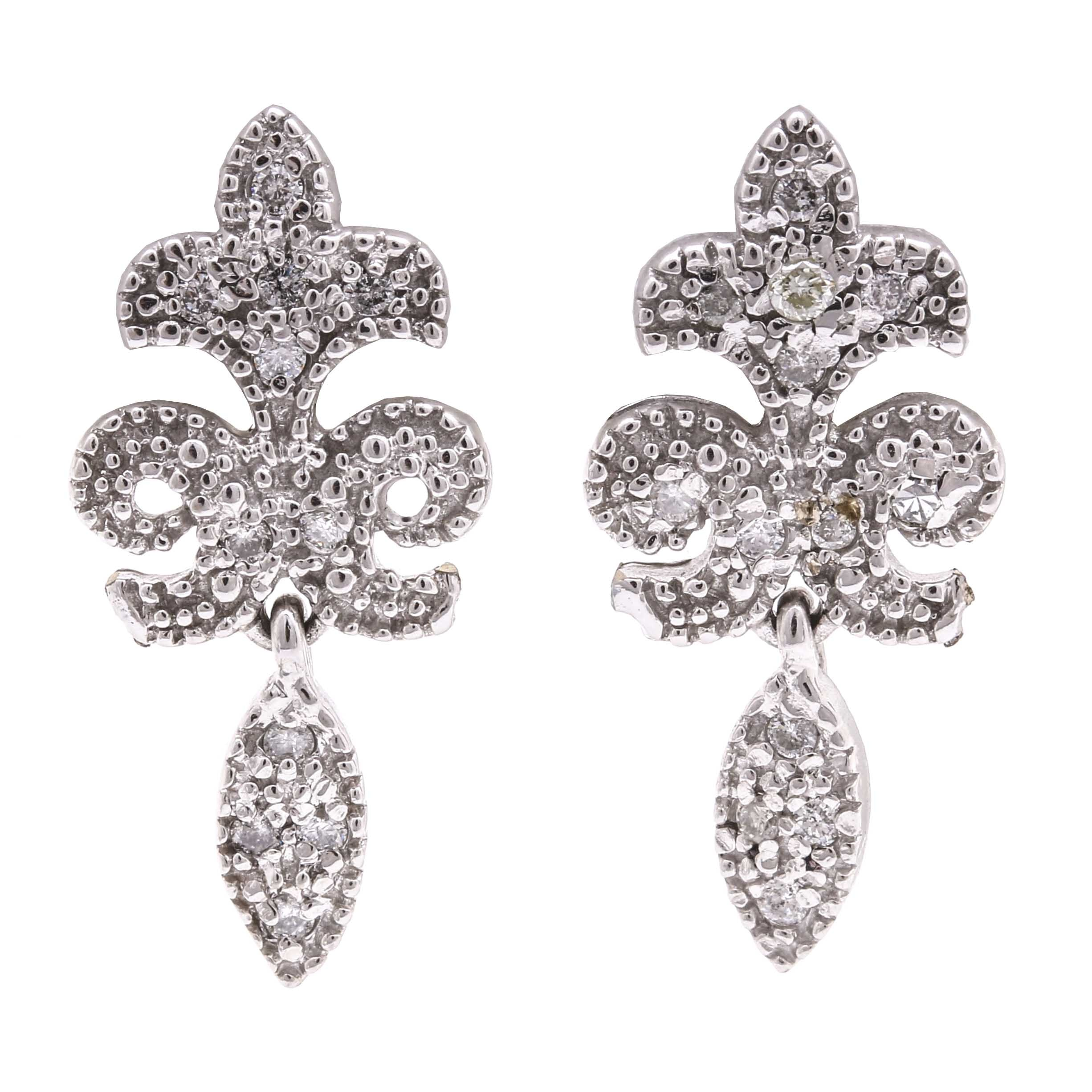 14K White Gold Fleur De Lis Diamond Dangle Earrings