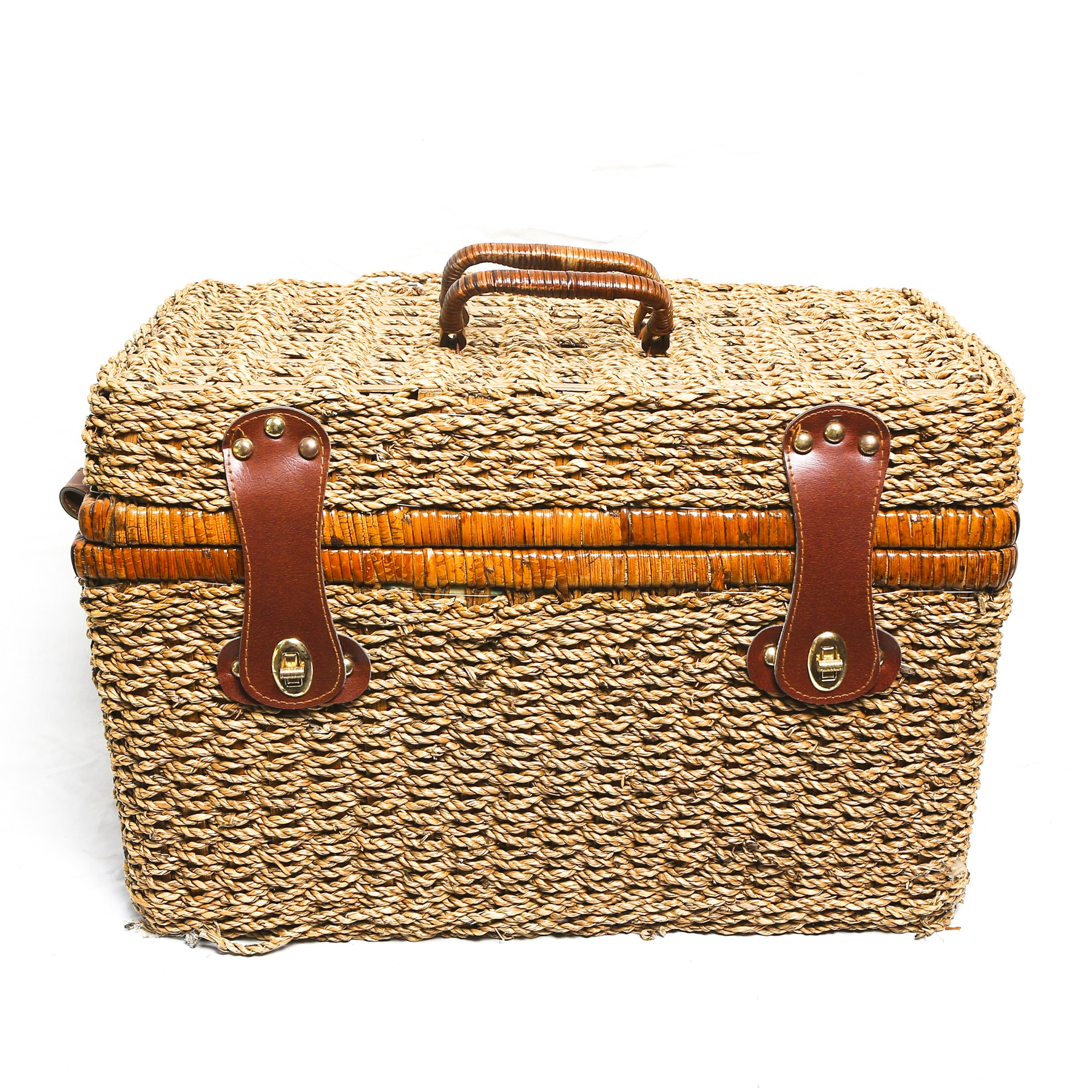 Wicker Picnic Basket Set for Four