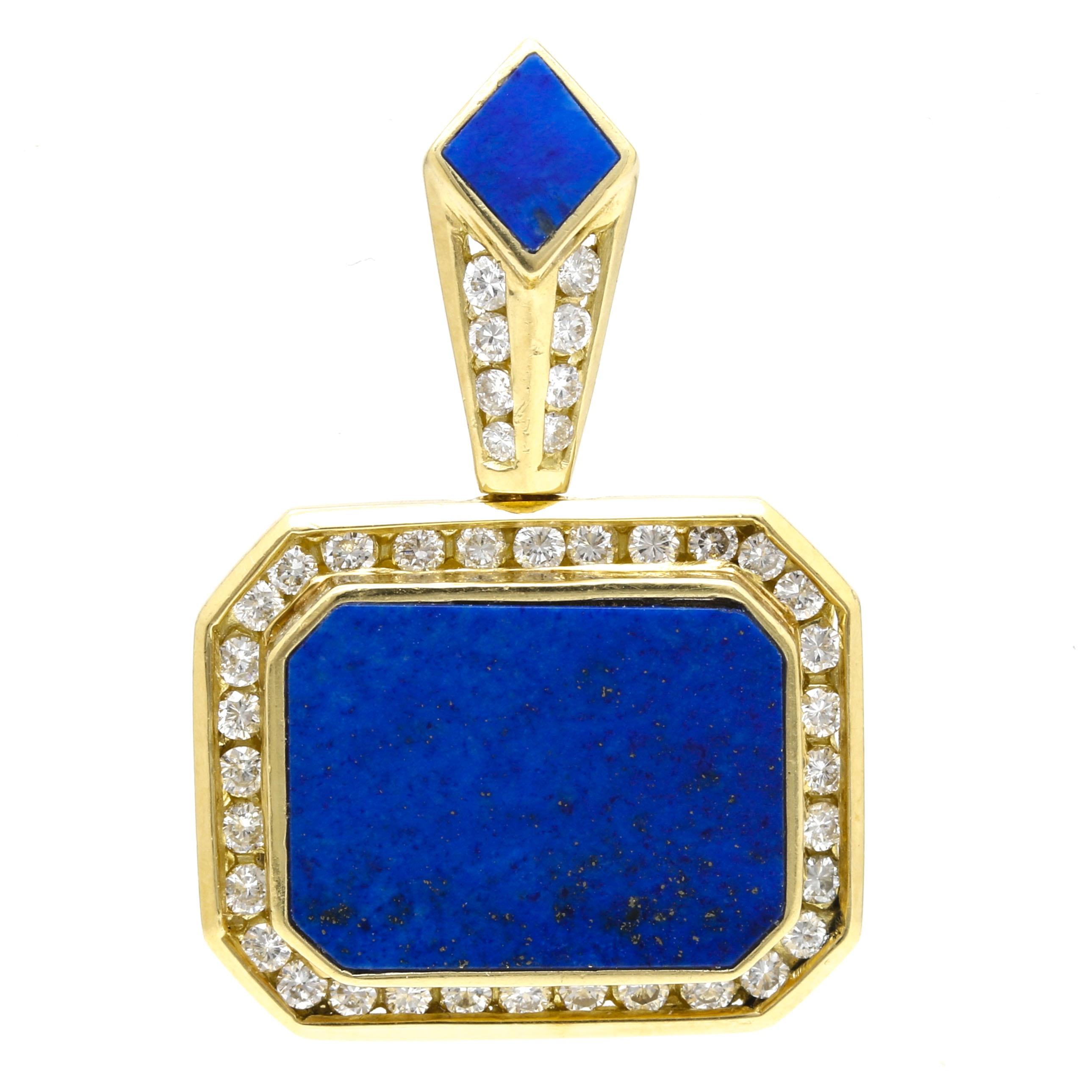 La Triomphe 18K Yellow Gold Lapis Lazuli and Diamond Pendant