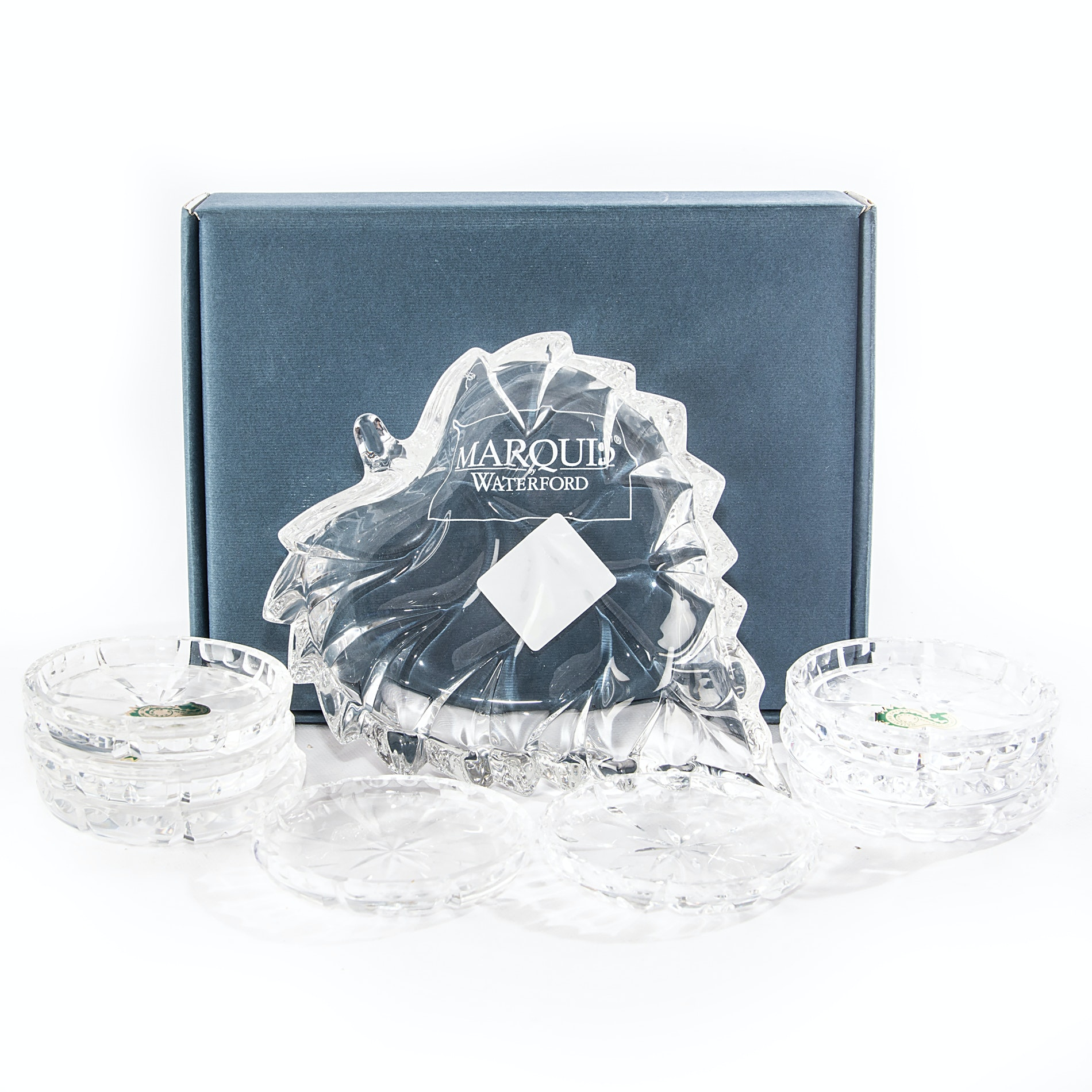 Handmade Waterford Crystal Coasters and Marquis by Waterford Dish