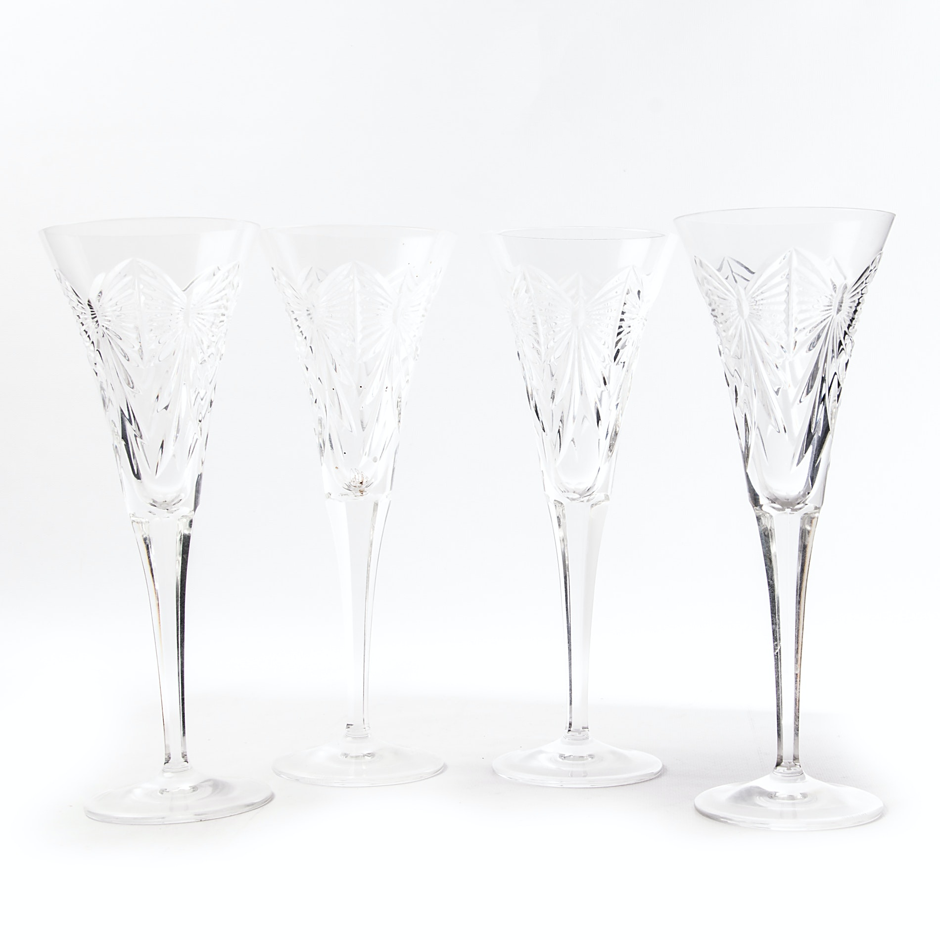 "Waterford Crystal ""Millennium Series: Happiness"" Toasting Flutes"