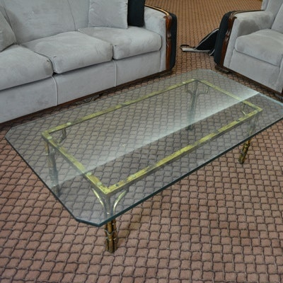 Rectangular Glass Top Brass Coffee Table
