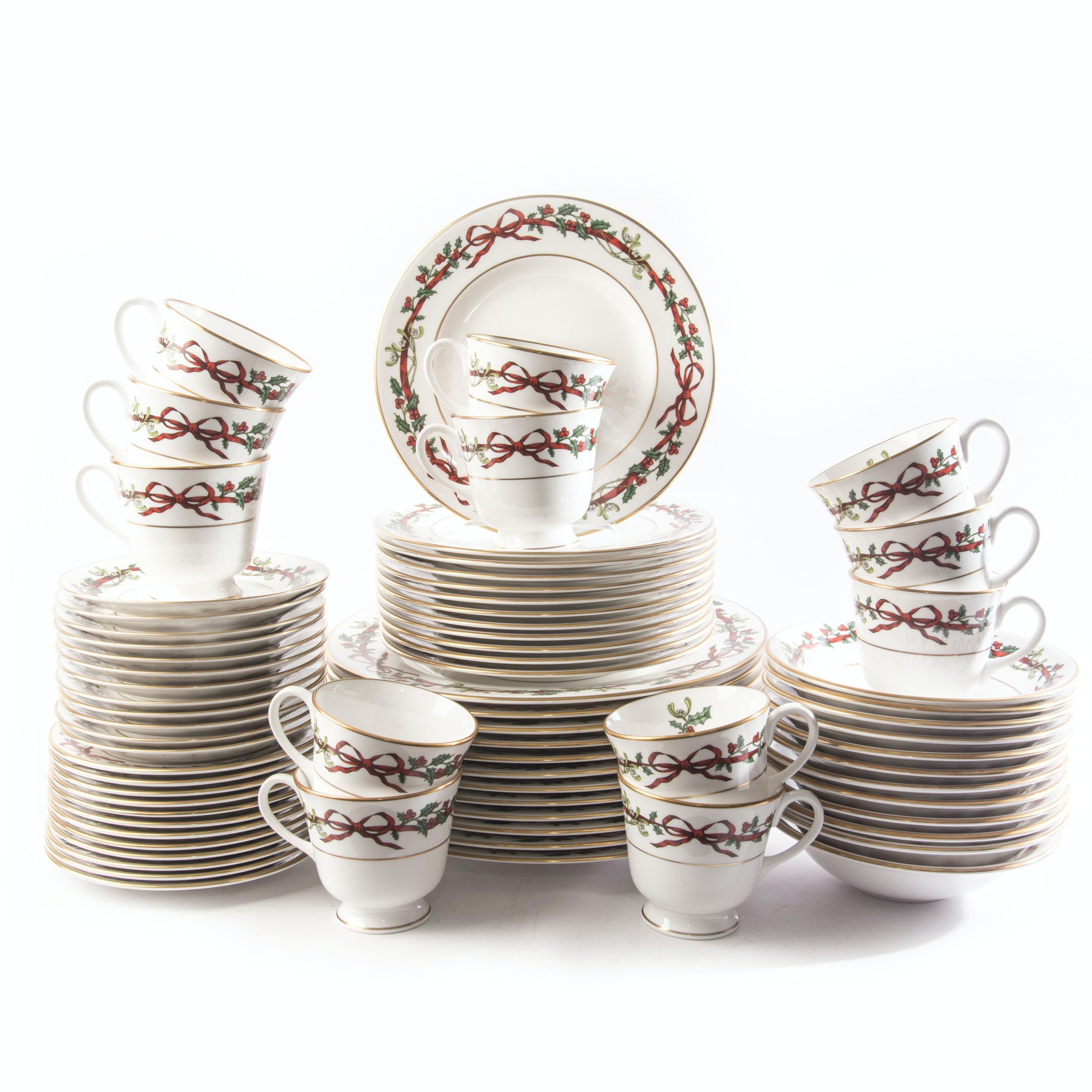 "Royal Worcester ""Holly Ribbons"" Fine Bone China Six Piece Place Setting for Twelve"