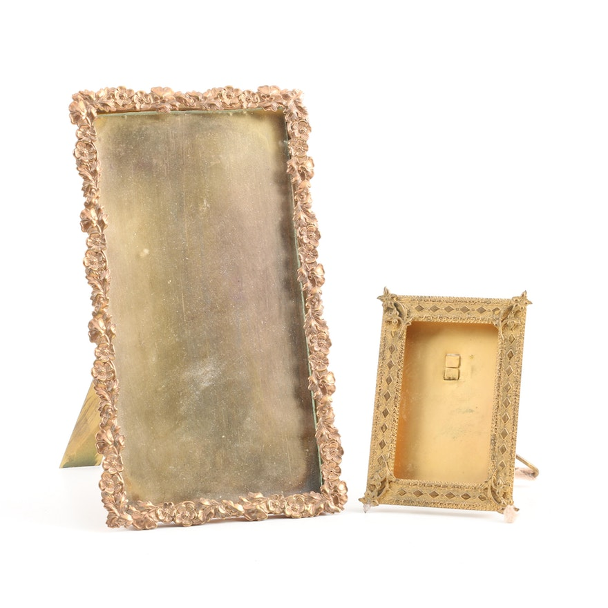 Two Miniature Brass Frames with Floral Motif