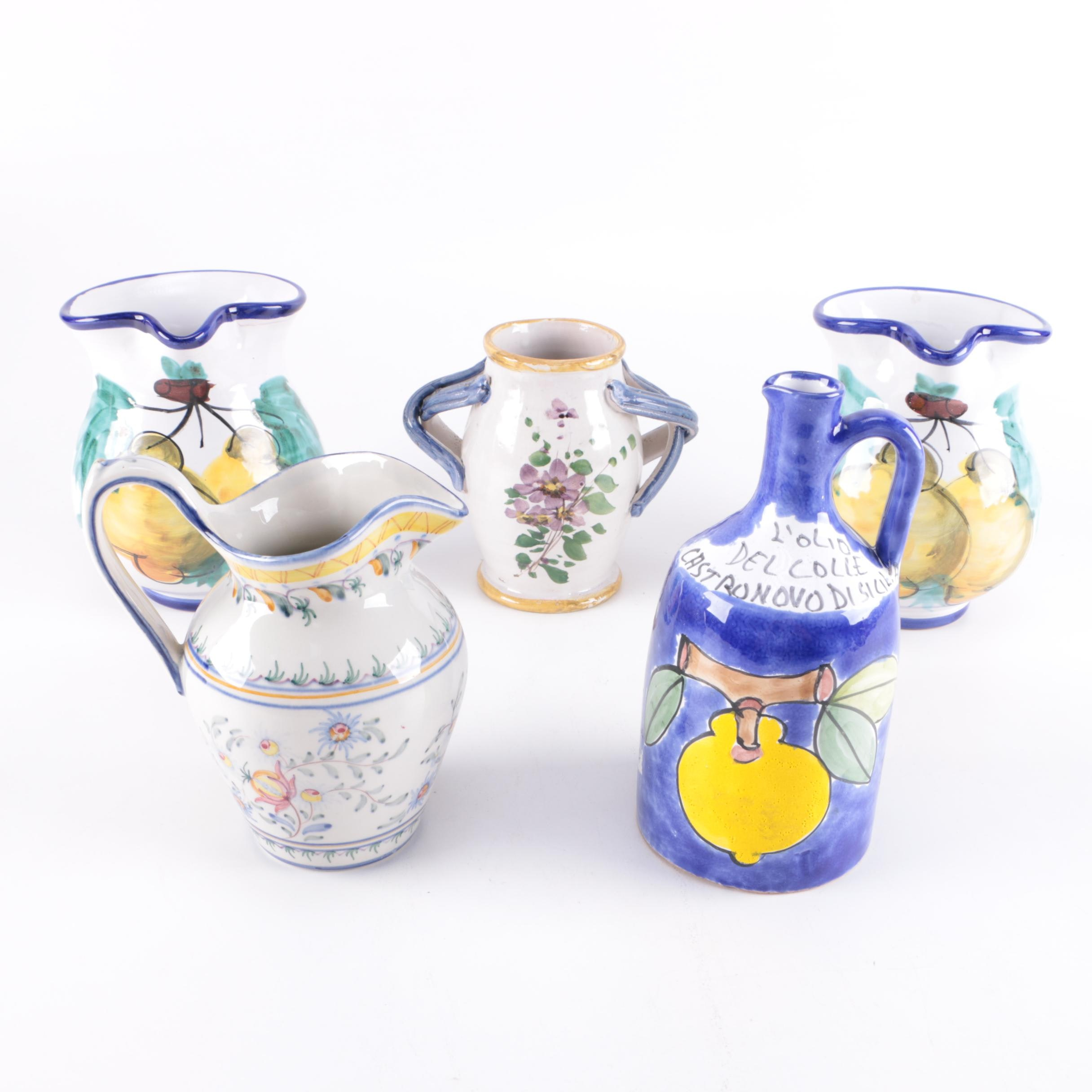 Italian and Portuguese Earthenware Hand Painted Jugs