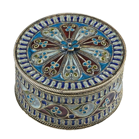 "Russian 800 Silver ""Plique-a-Jour"" Filigree and Enamel Box"