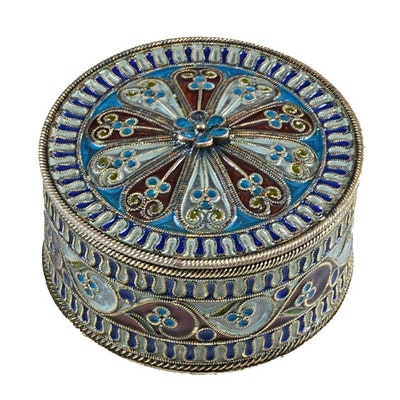 "Russian 800 Silver ""Plique-a-Jour"" Filigree and Enamel Box"