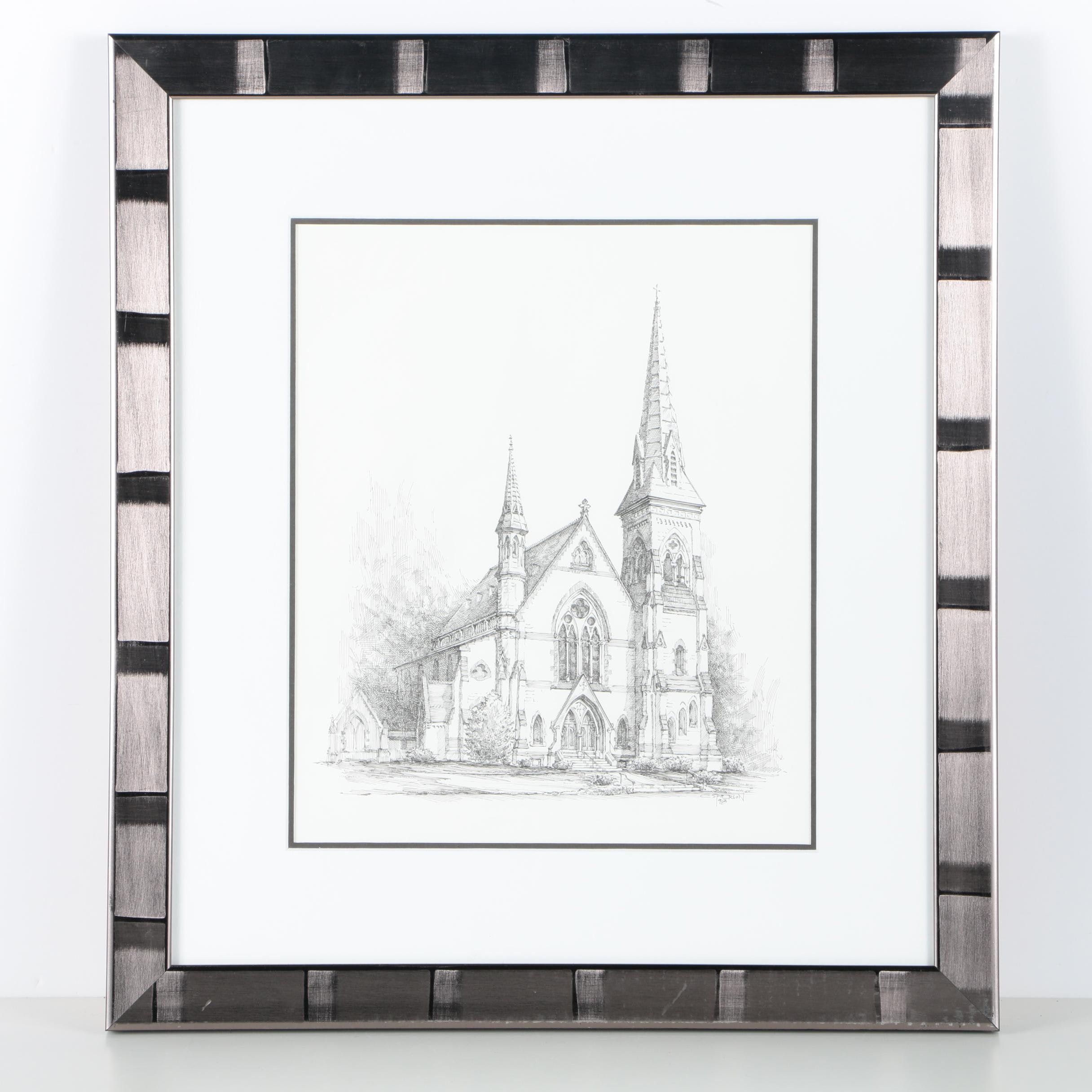 C. Spierson Ink Drawing on Paper of a Church