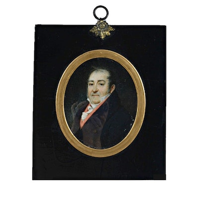 Early 19th-Century Oil Painting on Paper Portrait of a Man