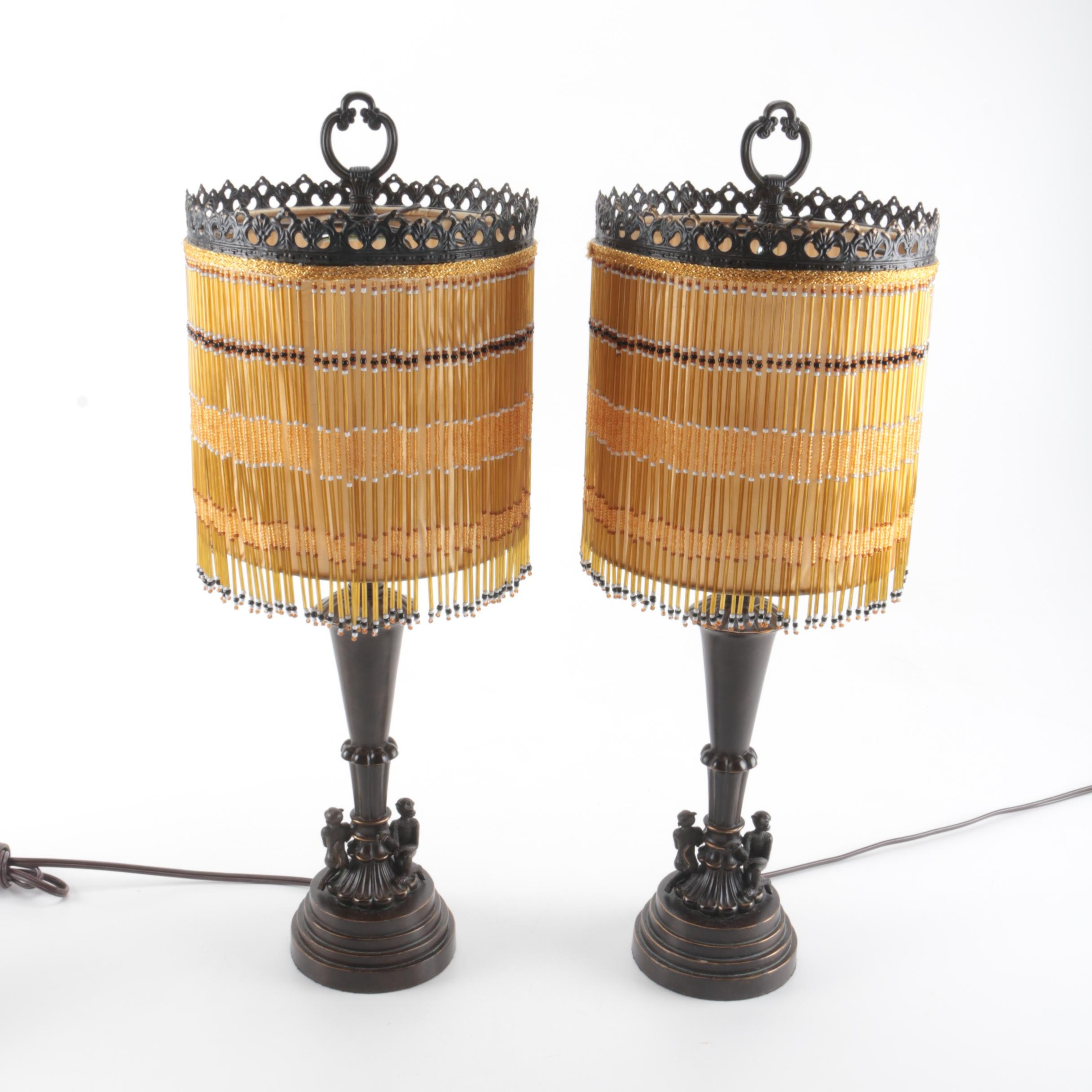 Pair of Brass Table Lamps With Beaded Shades
