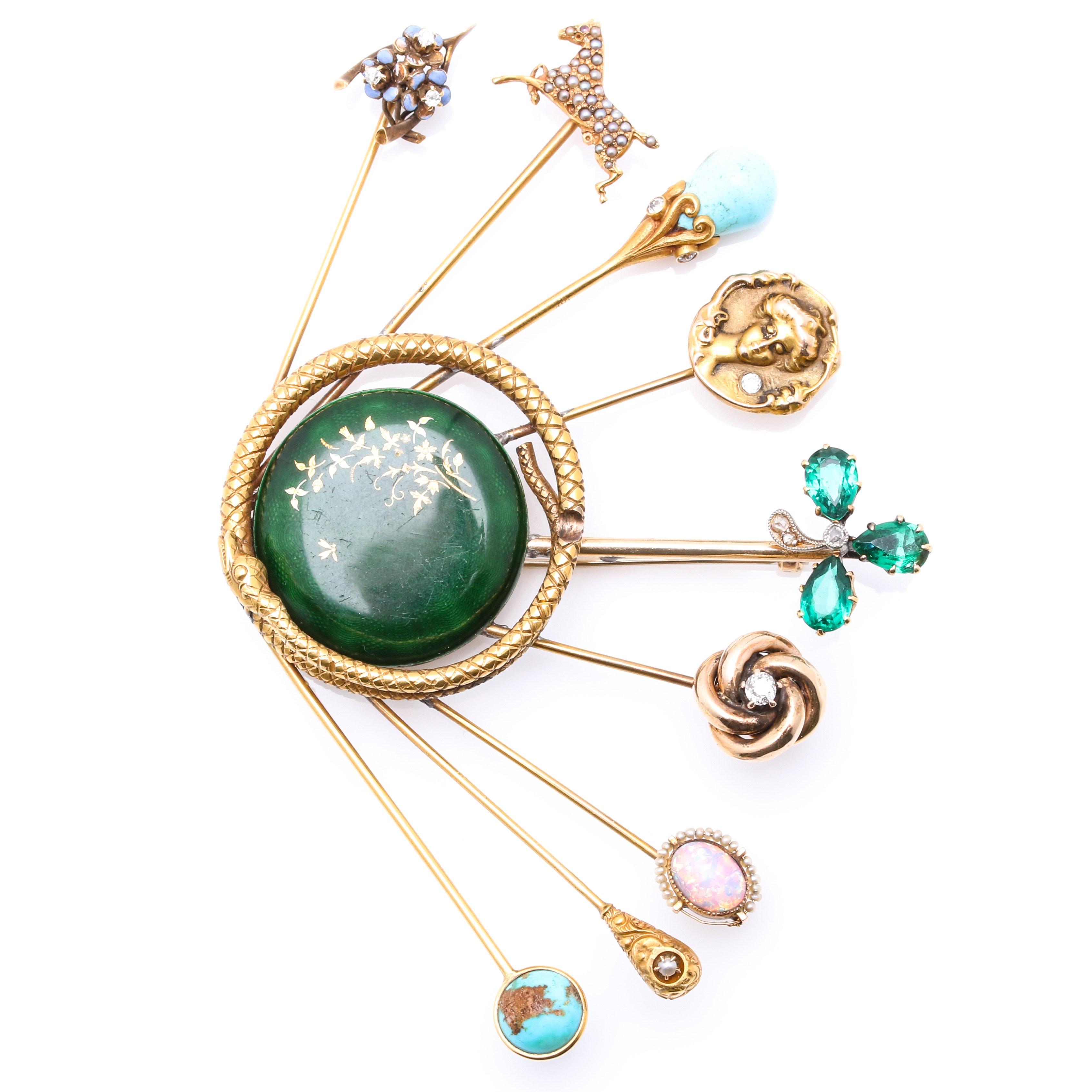 Mixed Gold Custom Stick Pin Brooch