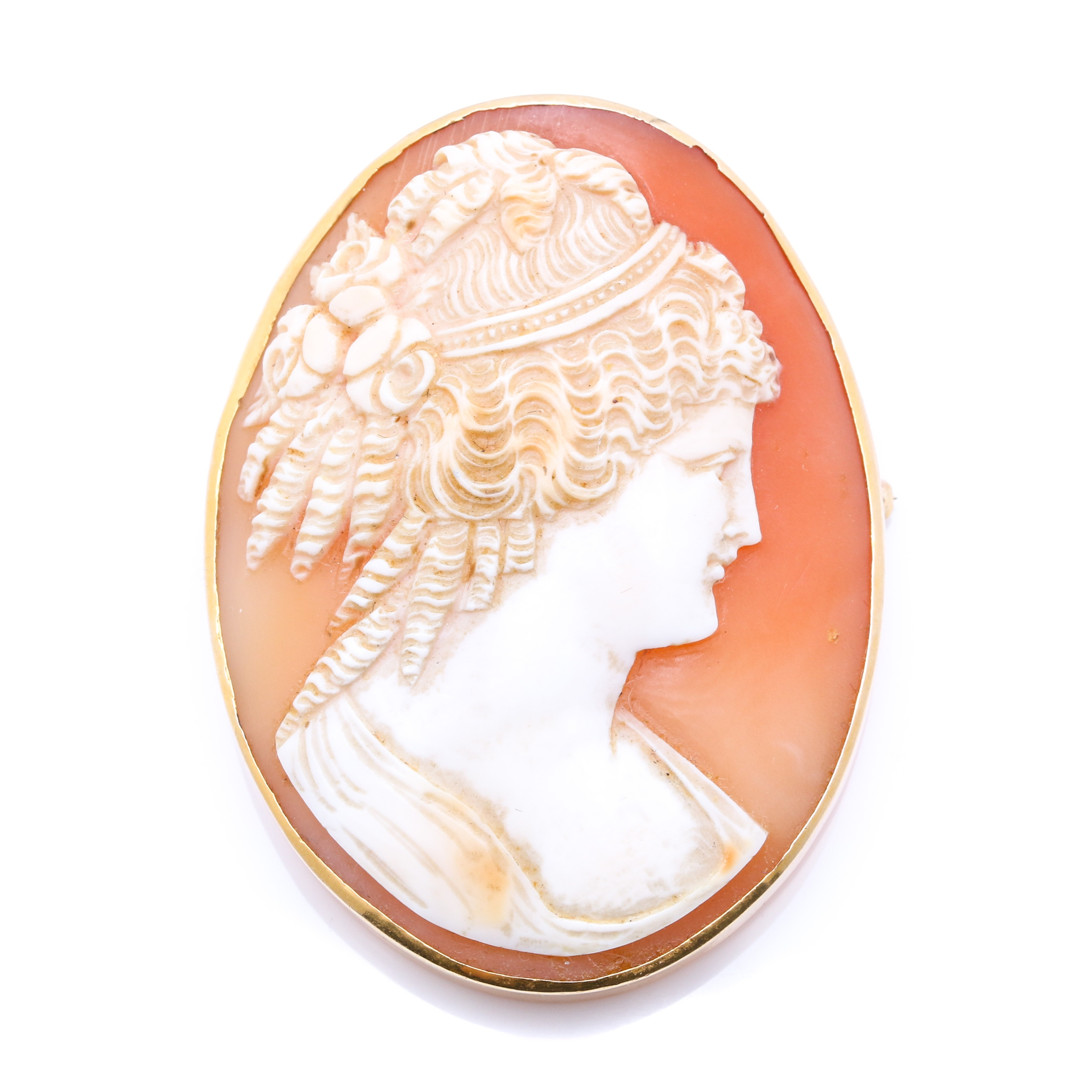 14K Yellow Gold Helmet Shell Cameo Convertible Pendant or Brooch