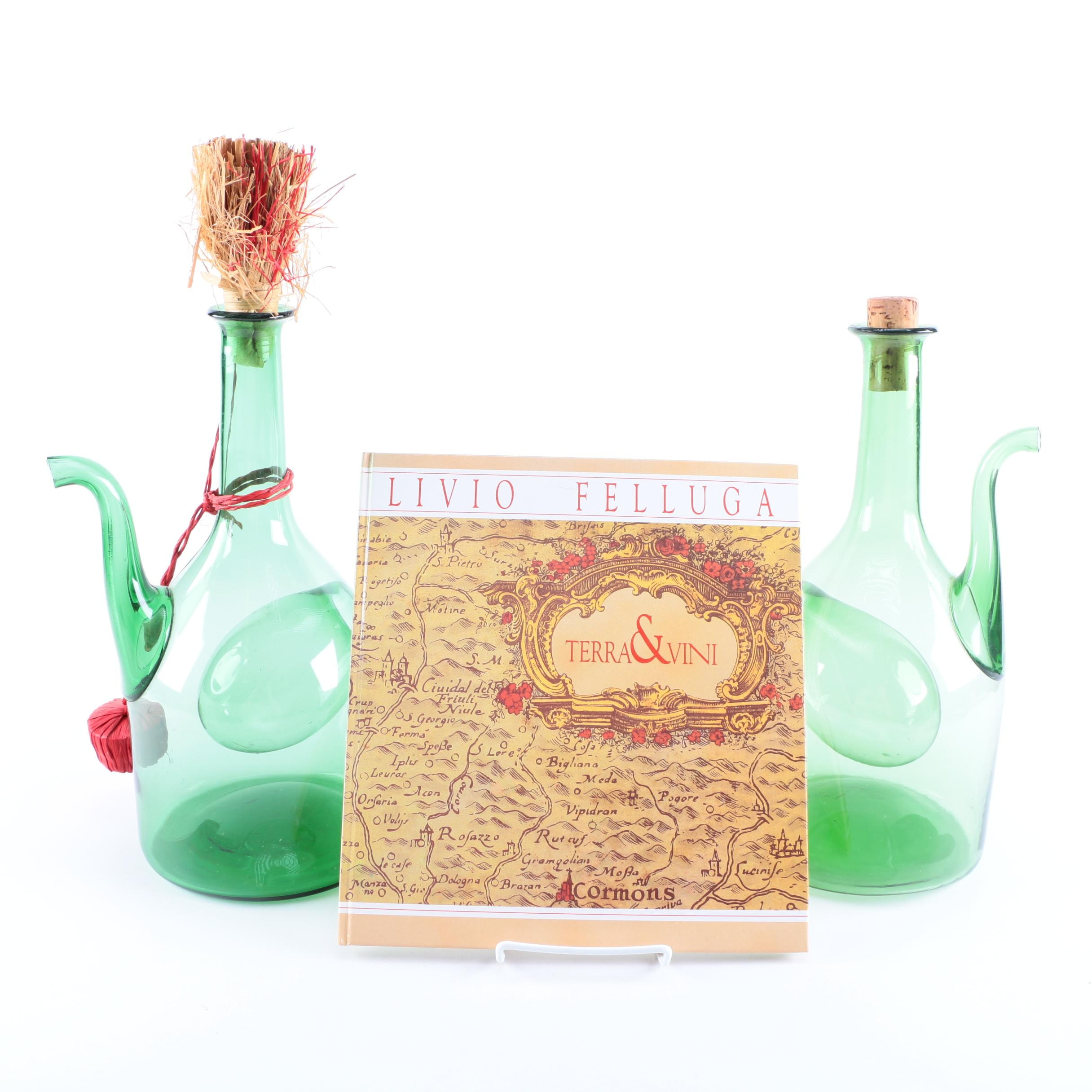 Hand-Blown Green Glass Wine Decanters and Italian Wine Book
