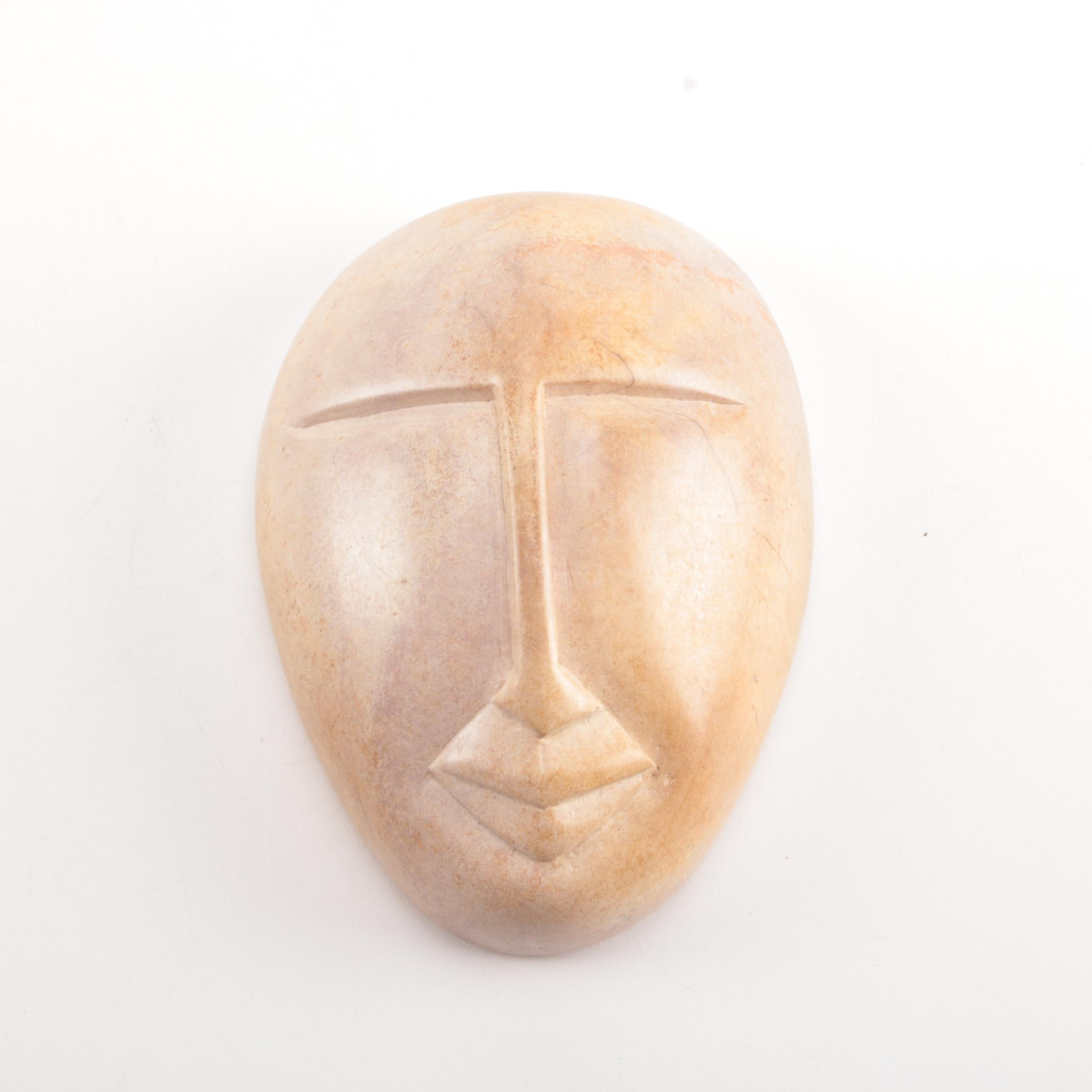 Inuit-Inspired Carved Soapstone Face