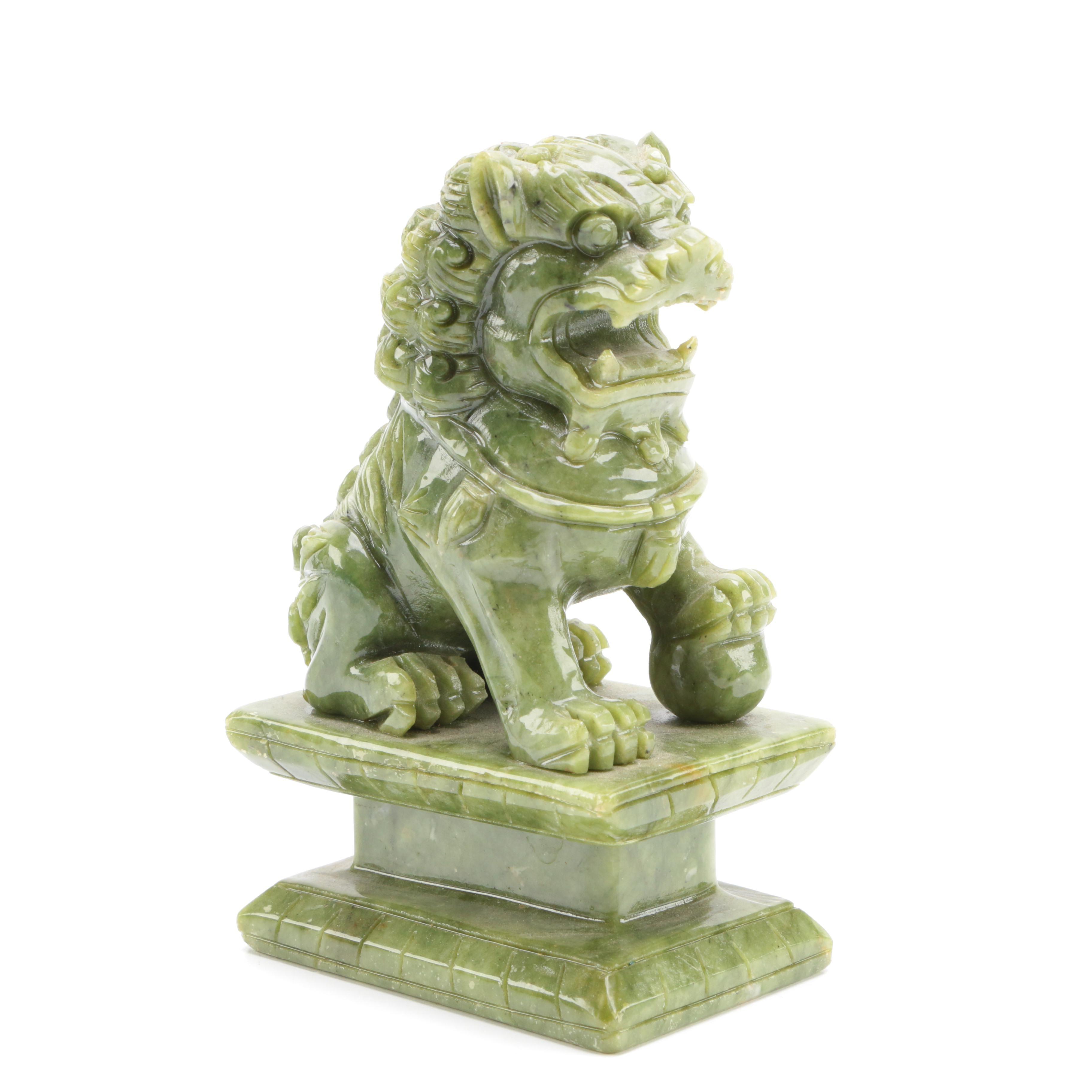 Soapstone Guardian Lion Figurine