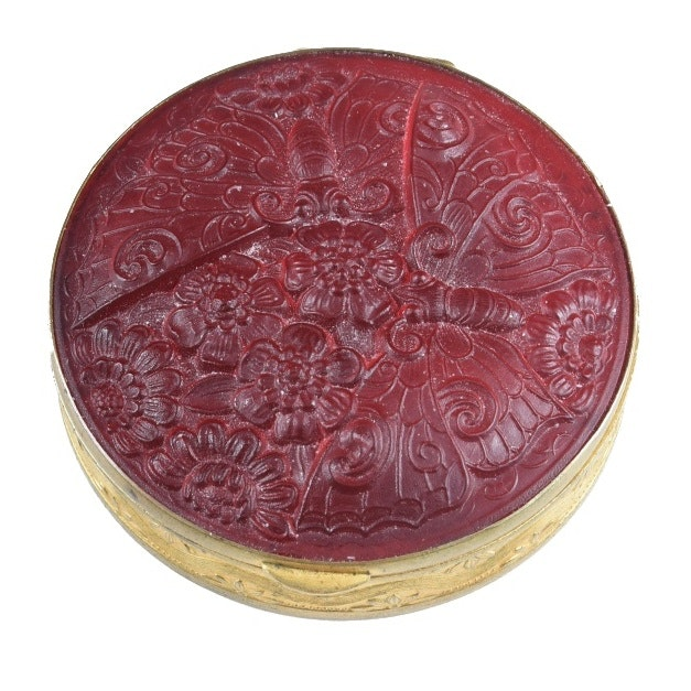 Round Powder Box With Red Glass Butterfly Motif