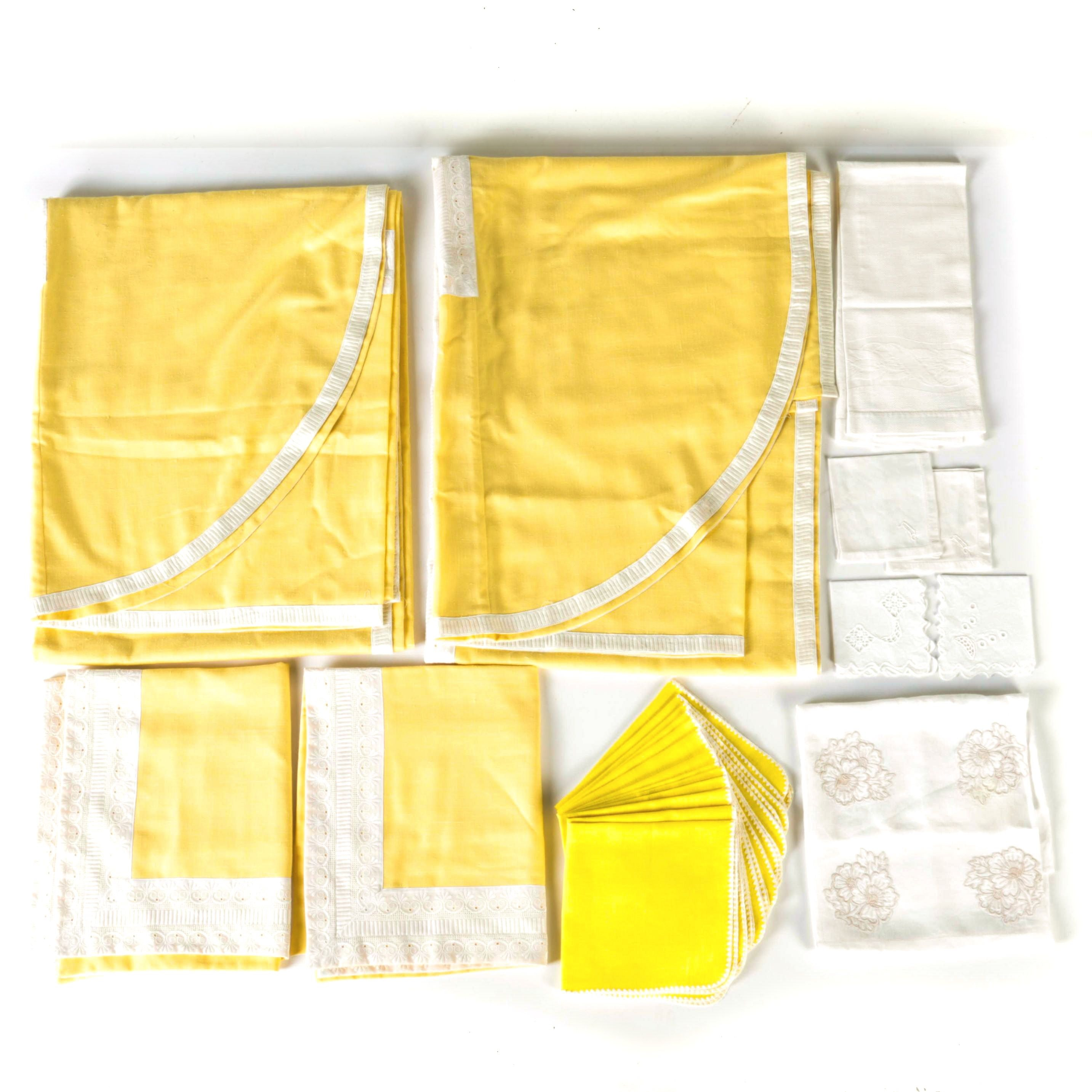 Yellow and White Table and Bed Linens
