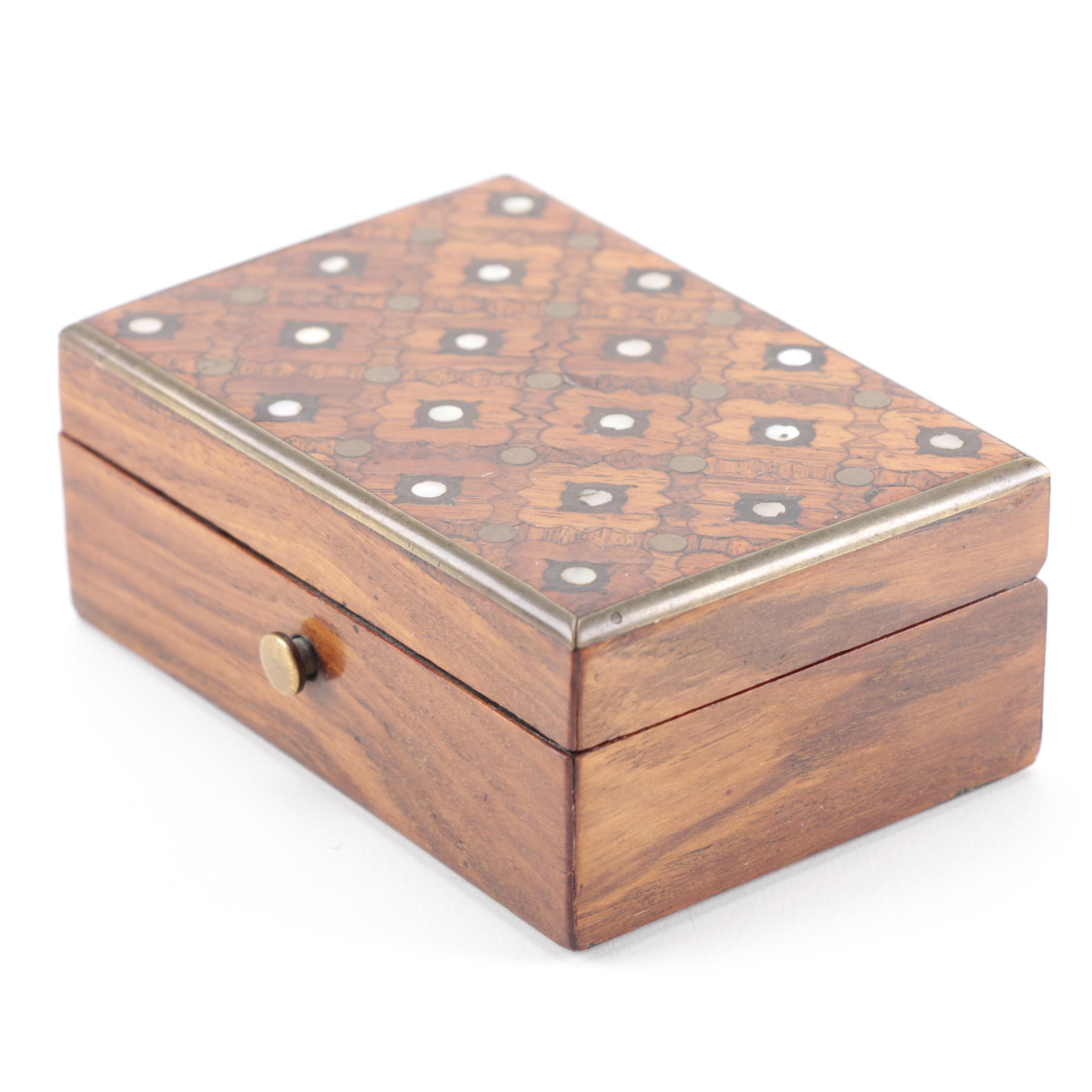 French Marquetry Top Box with Mother of Pearl Inlay