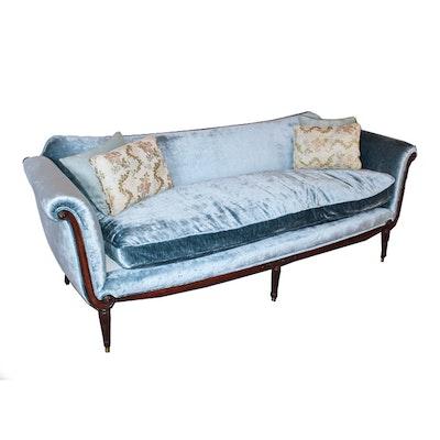 Vintage Blue Velvet Settee