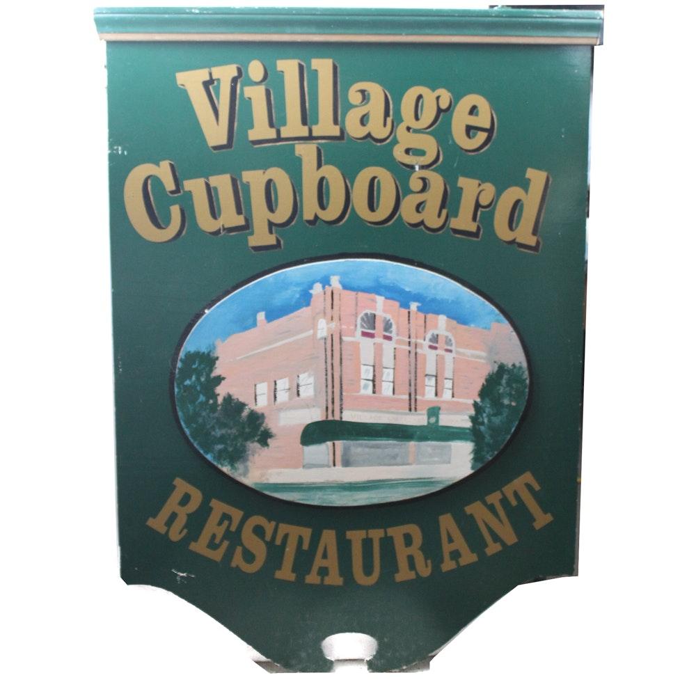 """Village Cupboard Restaurant"" Painted Sign"