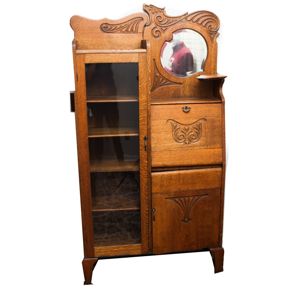 Oak Side-By-Side Secretary Desk