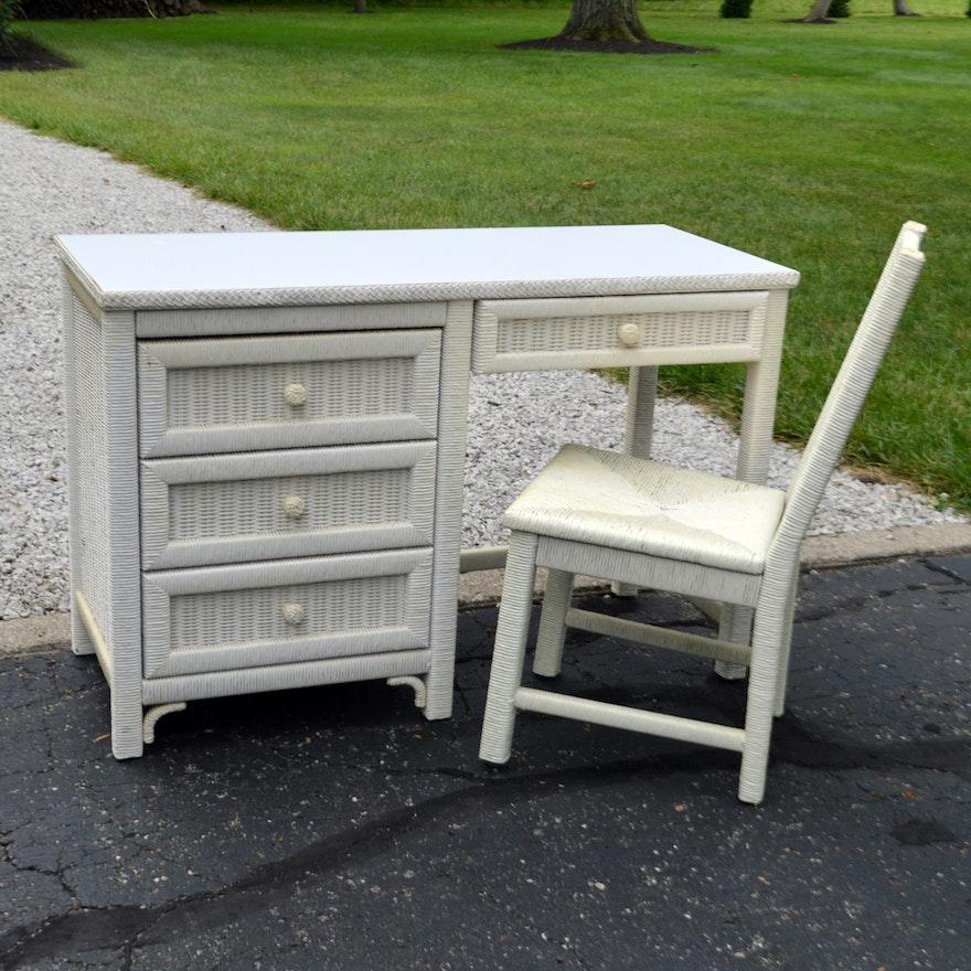 Vintage Henry Link White Wicker Desk With Chair ... - Vintage Henry Link White Wicker Desk With Chair : EBTH