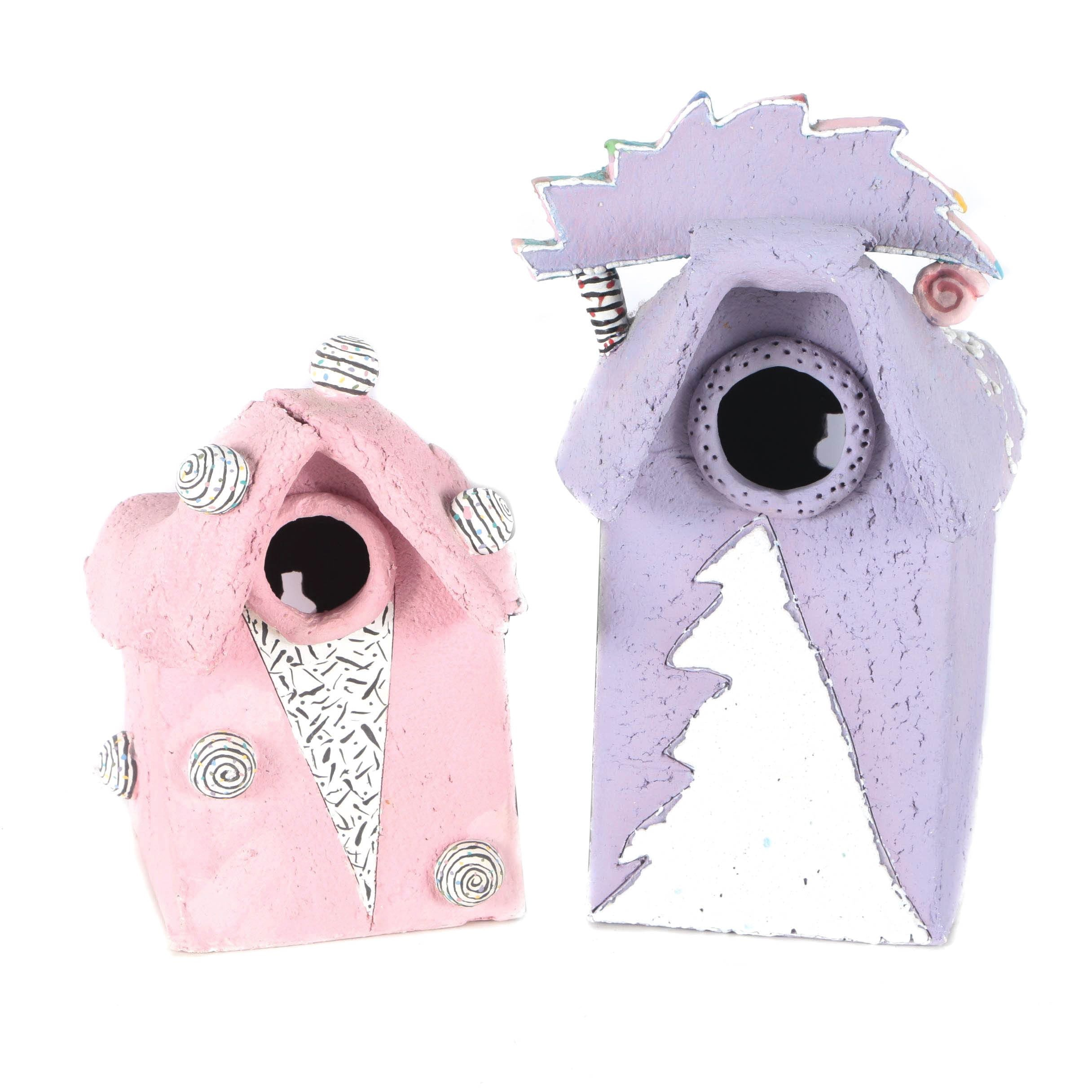 Signed Fanciful Clay Bird Houses