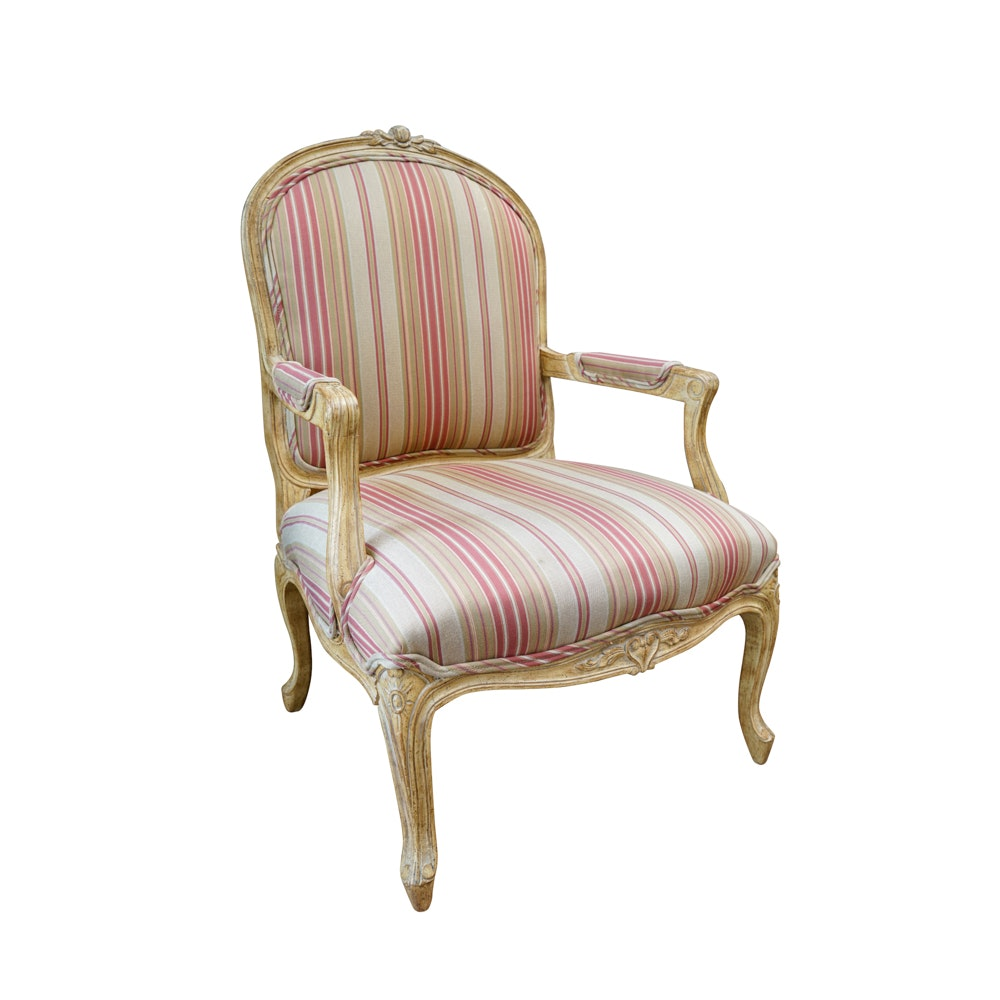 Louis XV Style Carved Fauteuil Chair with Striped Upholstery