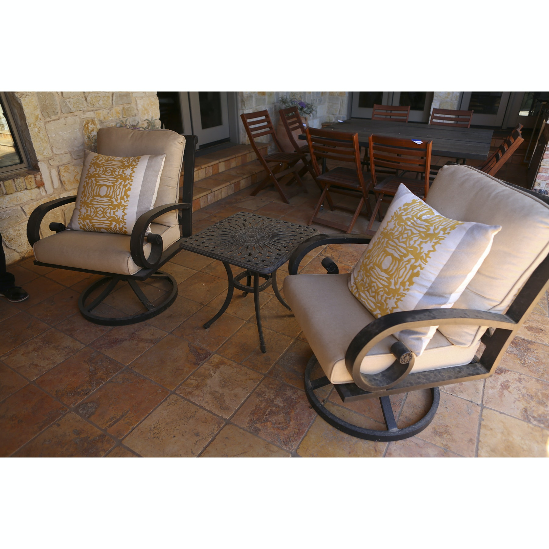 Patio Chairs  with Throw Pillows and Side Table