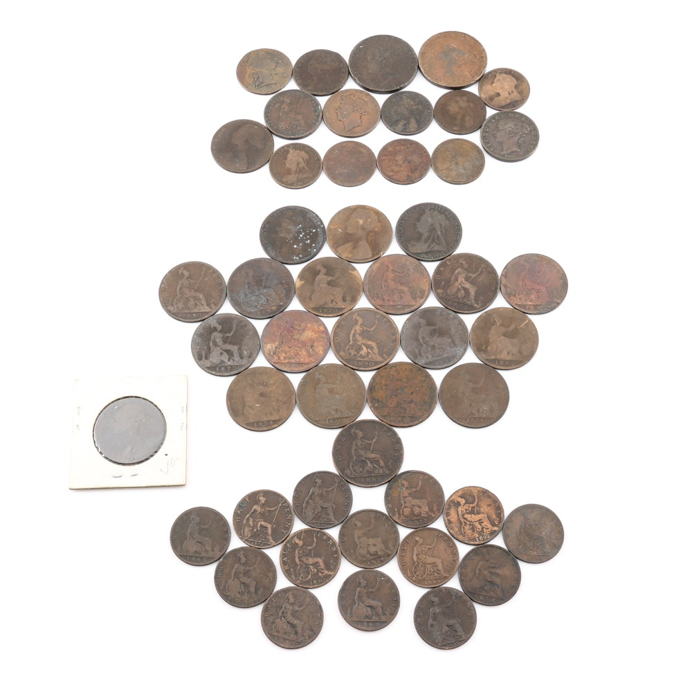 Large Group of over 50 Different Early British Coins Including a 1717 British Half Penny
