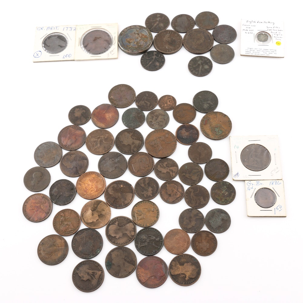 Large Group of over 50 Different Early British Coins Including a 17th Century English Rose Farthing