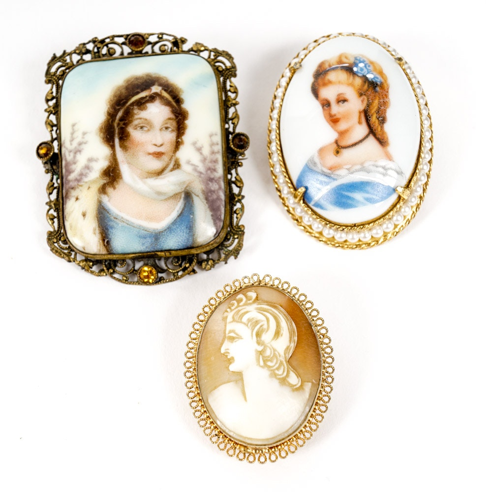 Cameo Brooch Collection Including Limoges